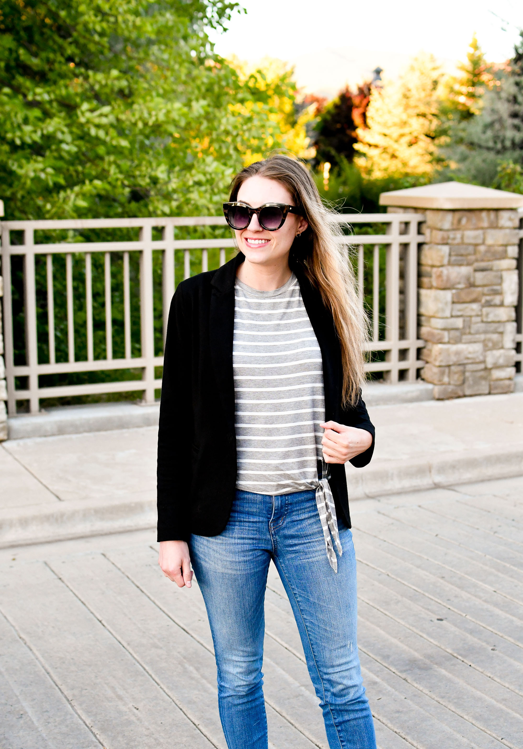 Grey striped tee and black blazer casual work outfit — Cotton Cashmere Cat Hair