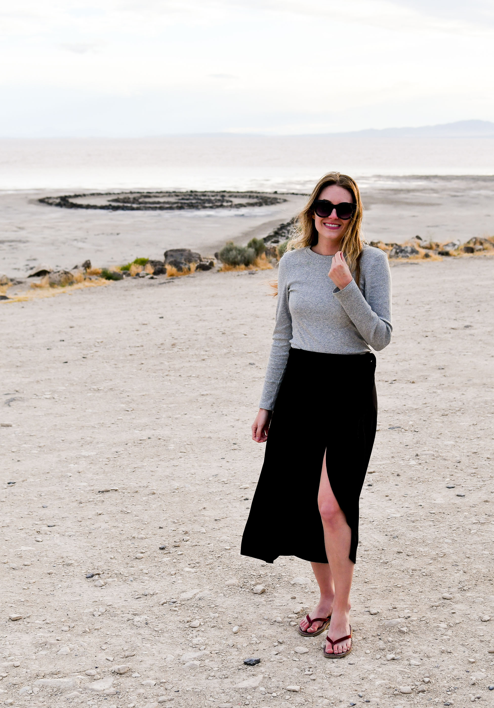 Casual outfit for the summer solstice at the Spiral Jetty, Utah — Cotton Cashmere Cat Hair