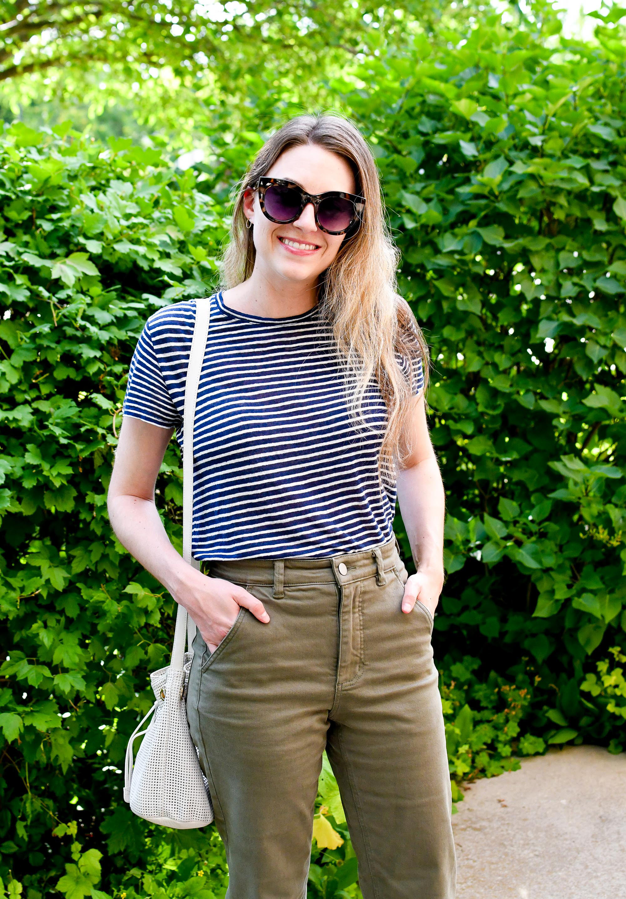 Everlane indigo striped linen tee outfit with straight leg crops — Cotton Cashmere Cat Hair