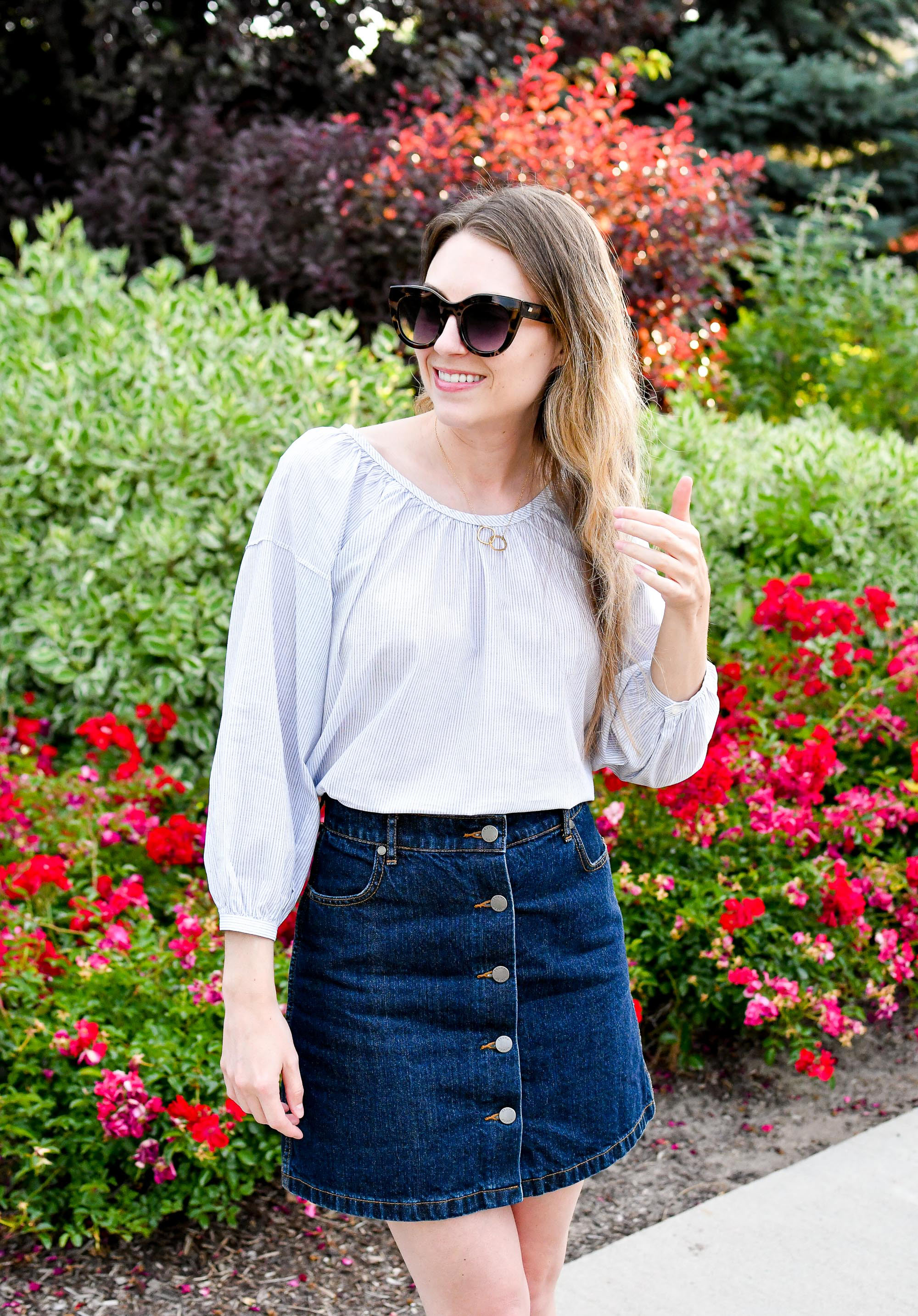 Everlane air ruched blouse summer outfit with denim skirt — Cotton Cashmere Cat Hair