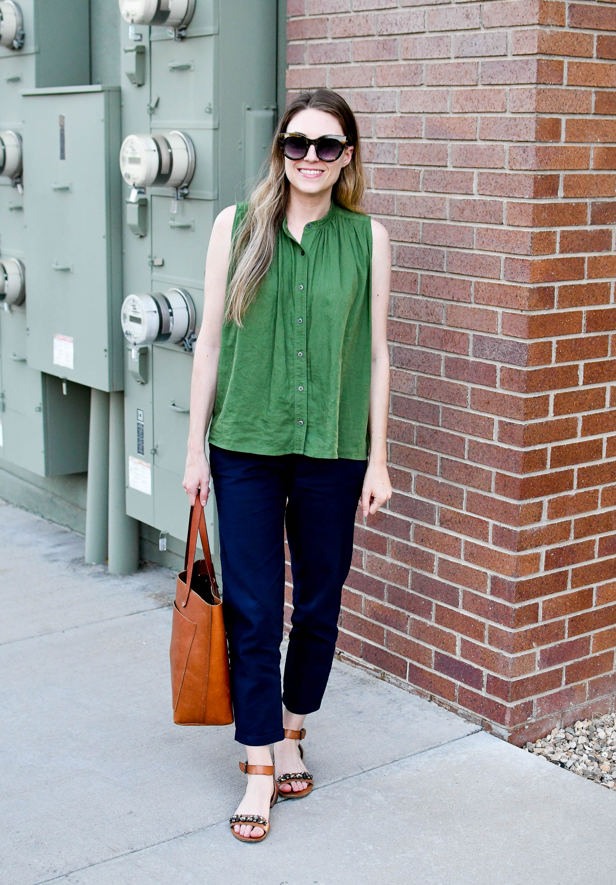 Summer workwear with linen blend green tank top and navy pants — Cotton Cashmere Cat Hair