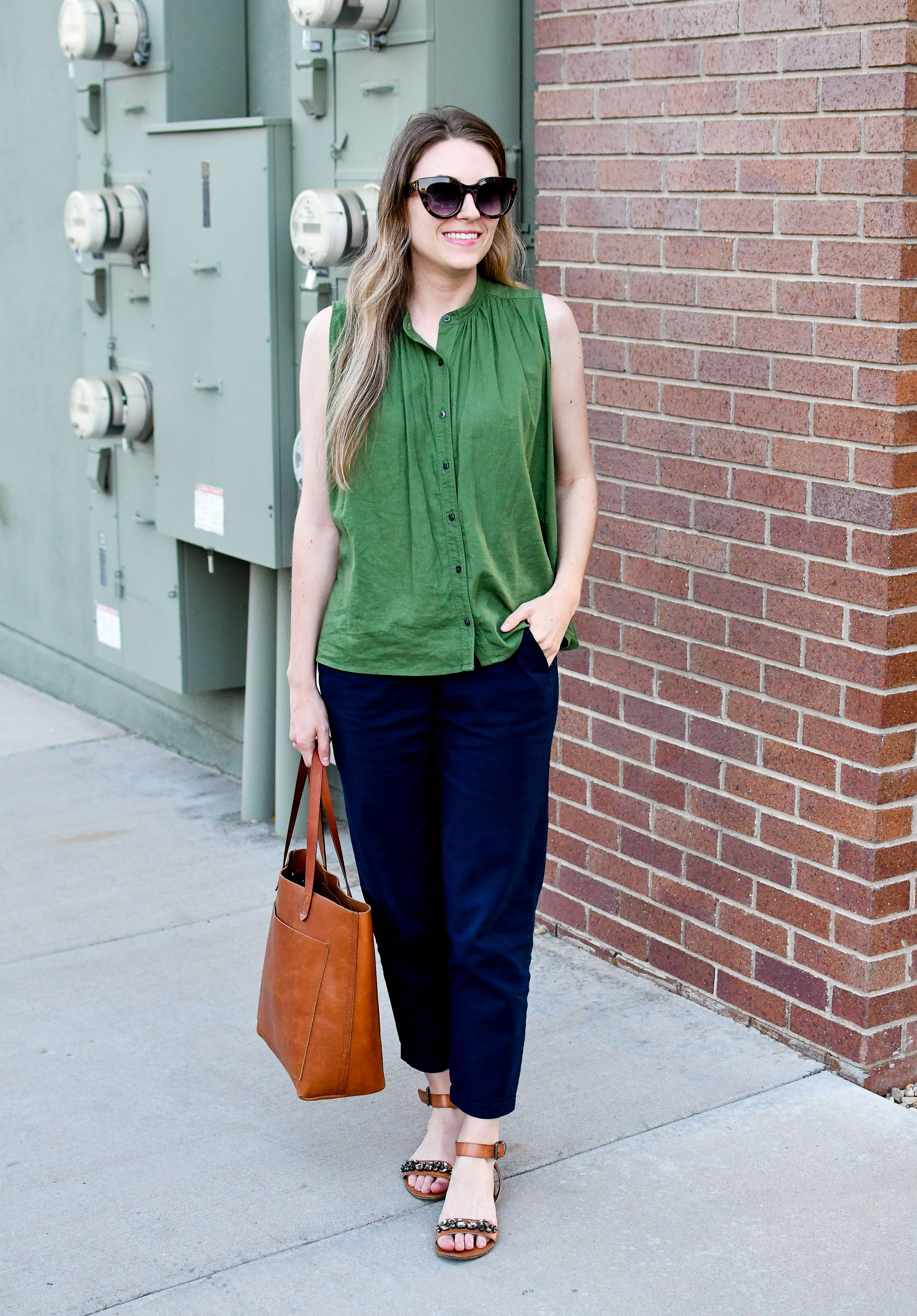 Summer work outfit with green linen blend top and navy cotton-linen pants — Cotton Cashmere Cat Hair