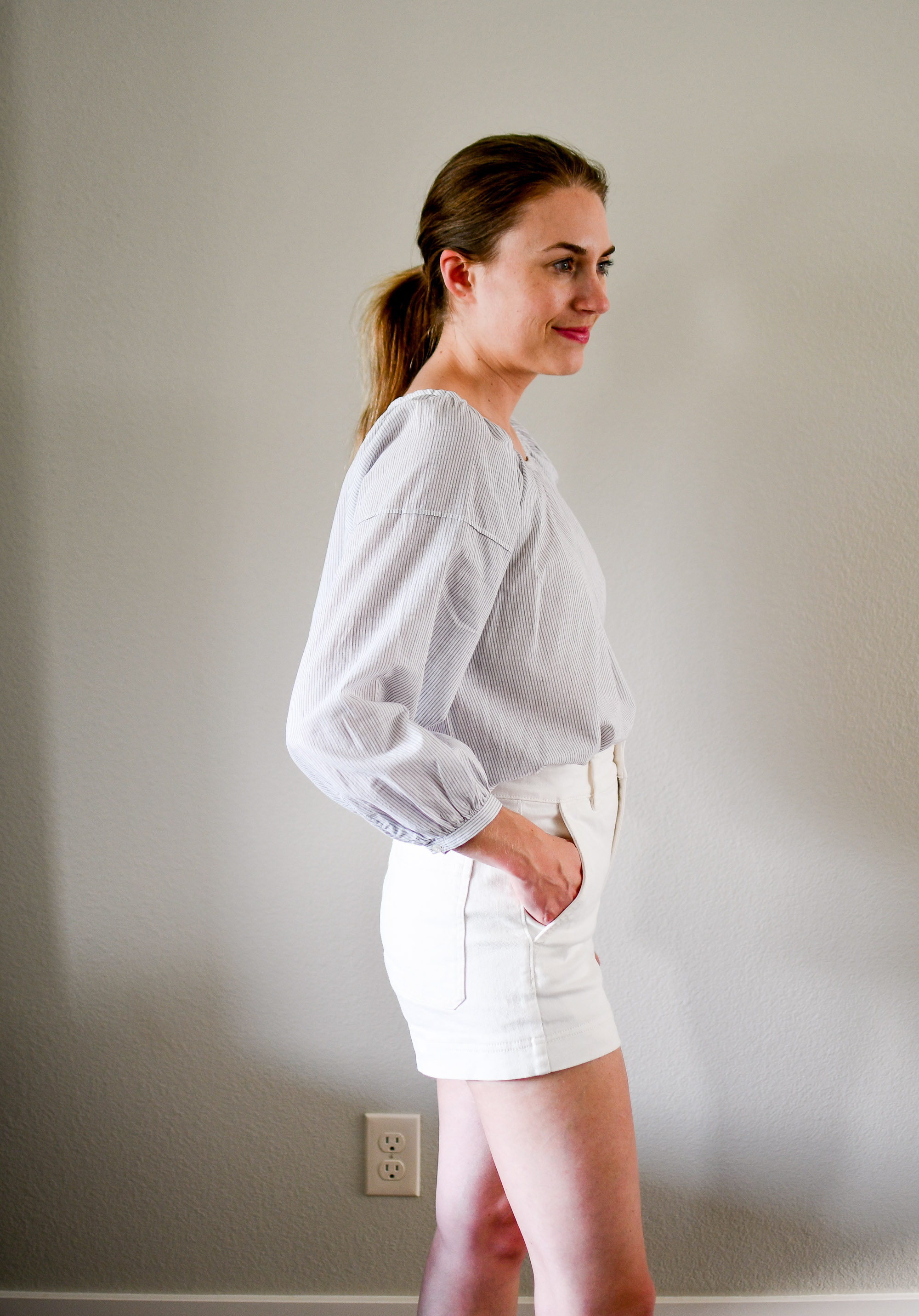 Everlane The Air Ruched Blouse in white multi stripe — Cotton Cashmere Cat Hair