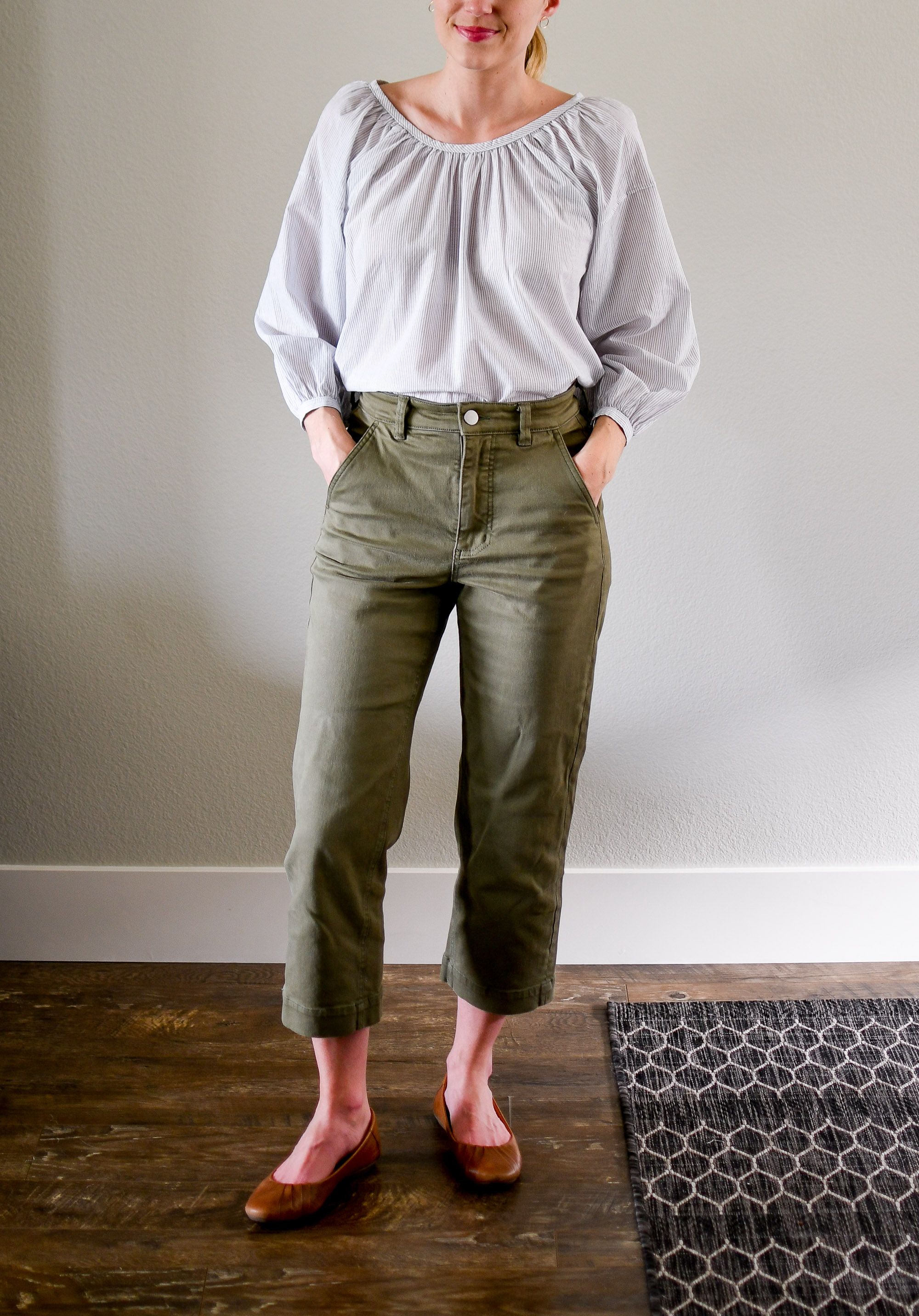 Everlane air ruched blouse and straight leg crop pants summer outfit — Cotton Cashmere Cat Hair