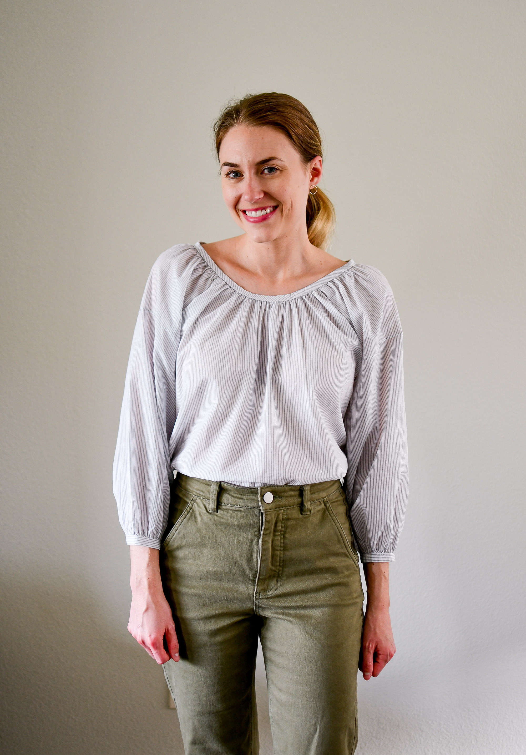 Everlane air ruched blouse summer work outfit — Cotton Cashmere Cat Hair
