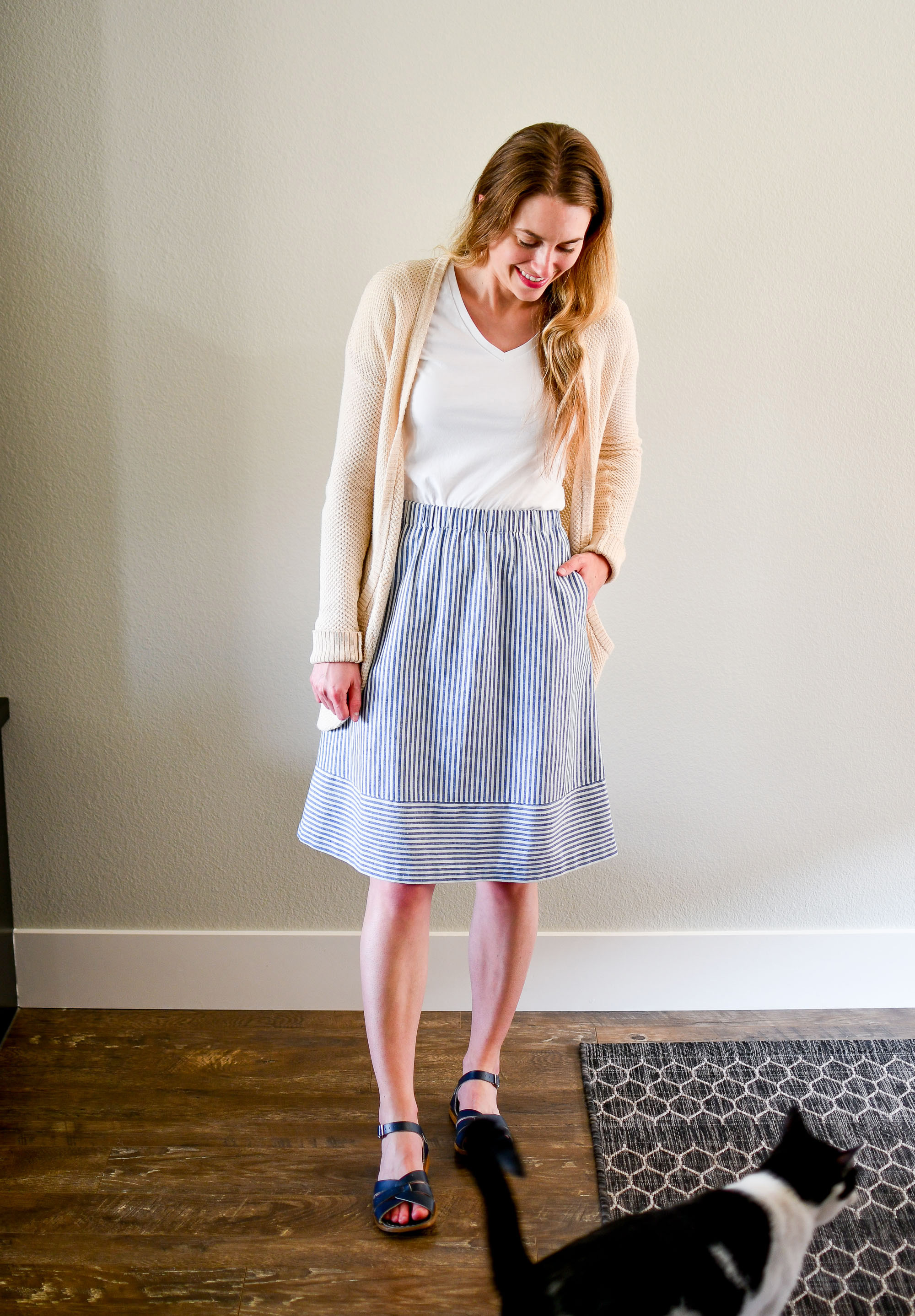 Blue striped midi skirt summer work outfit — Cotton Cashmere Cat Hair