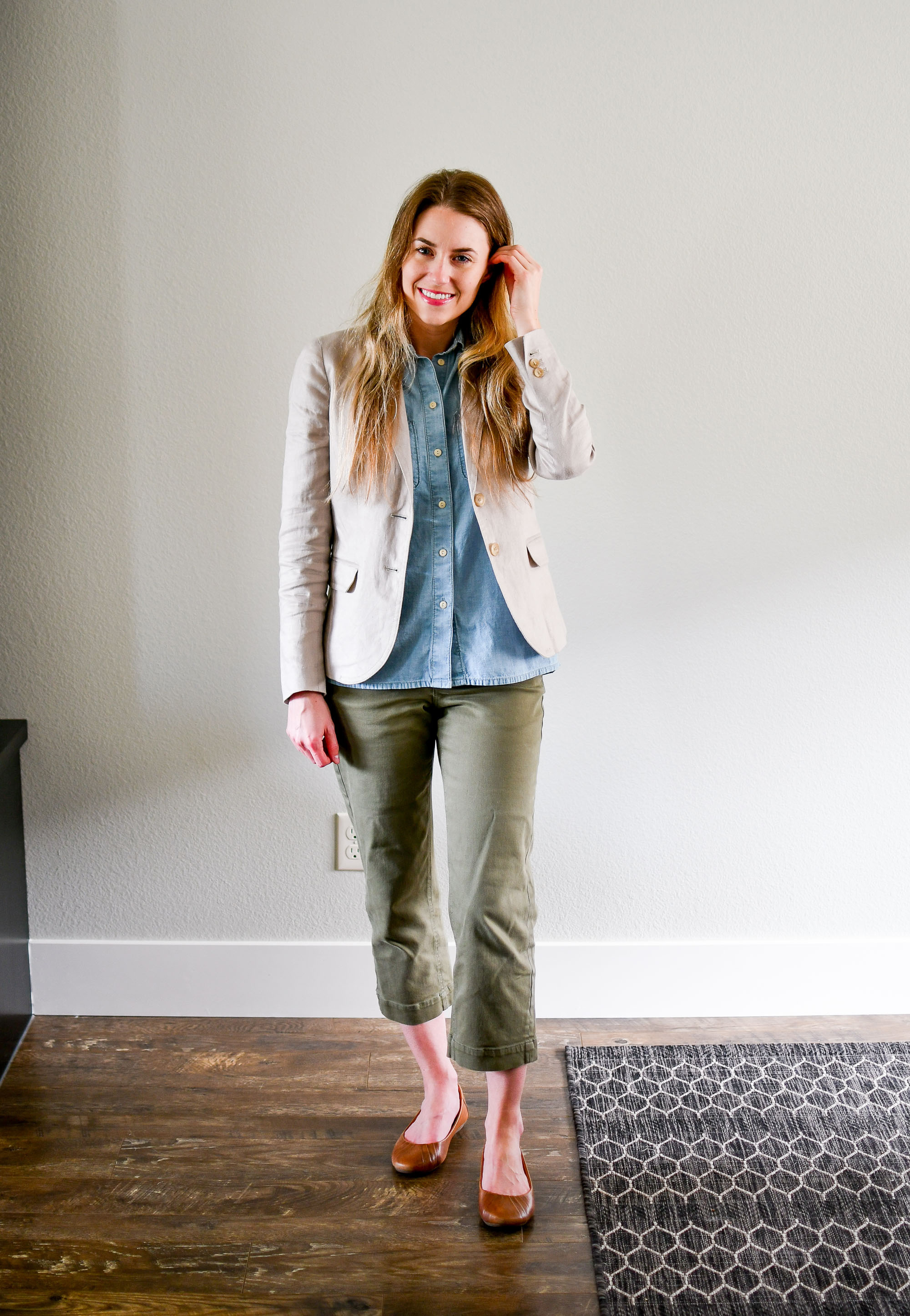 Linen blazer, chambray shirt, straight leg crops, brown flats — Cotton Cashmere Cat Hair