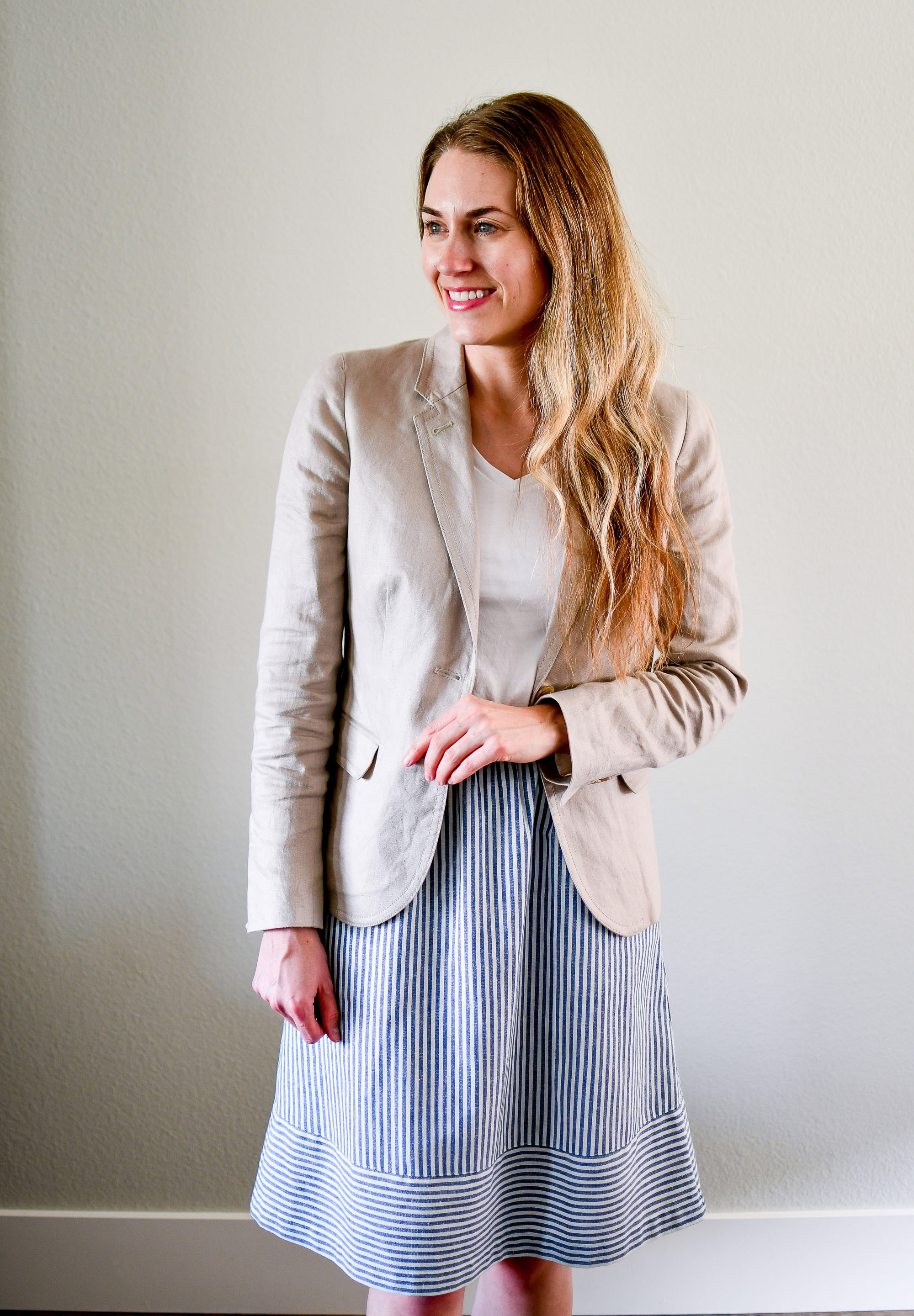 Linen blazer, white tee, striped midi skirt — Cotton Cashmere Cat Hair