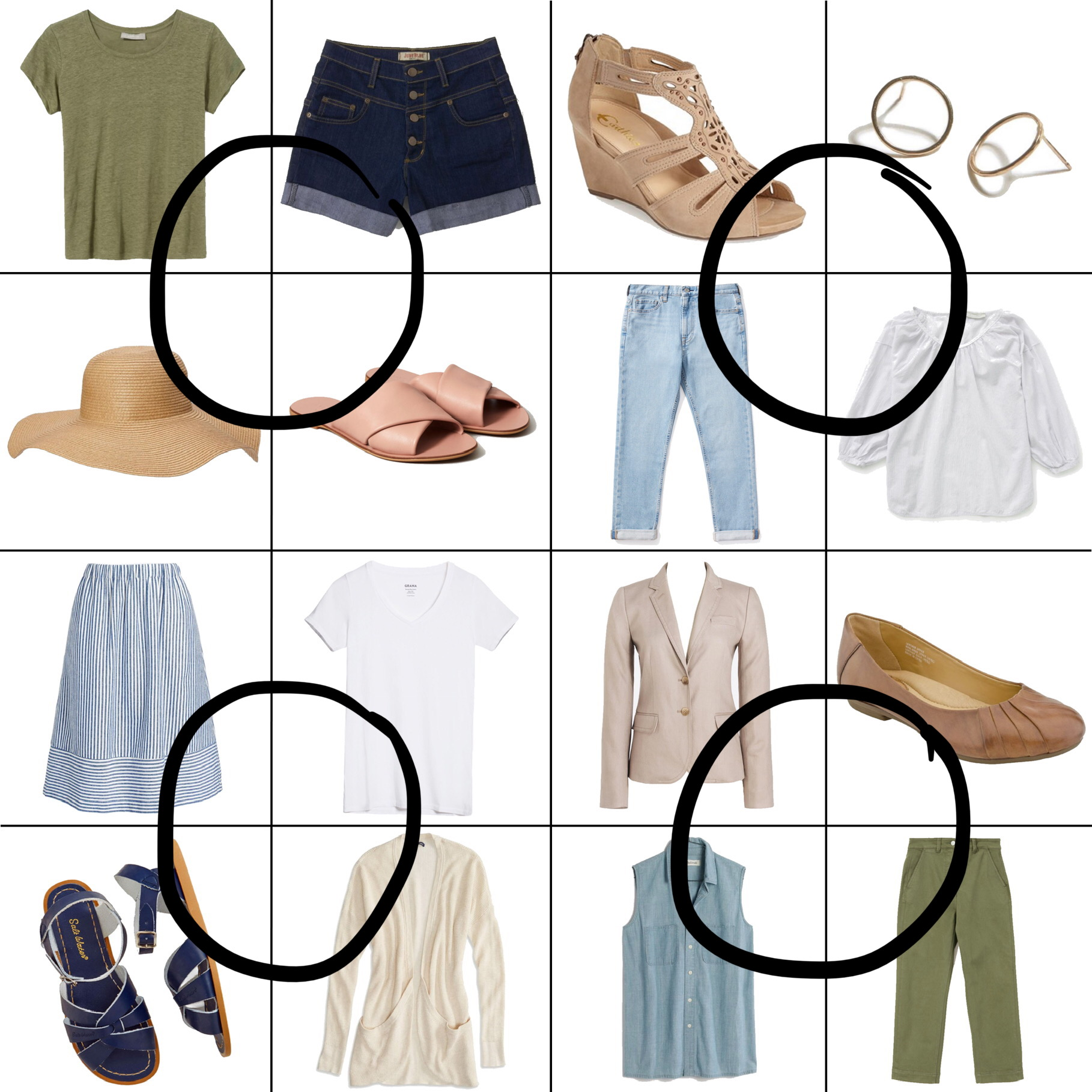 July Style Sudoku: 4 corner outfits — Cotton Cashmere Cat Hair