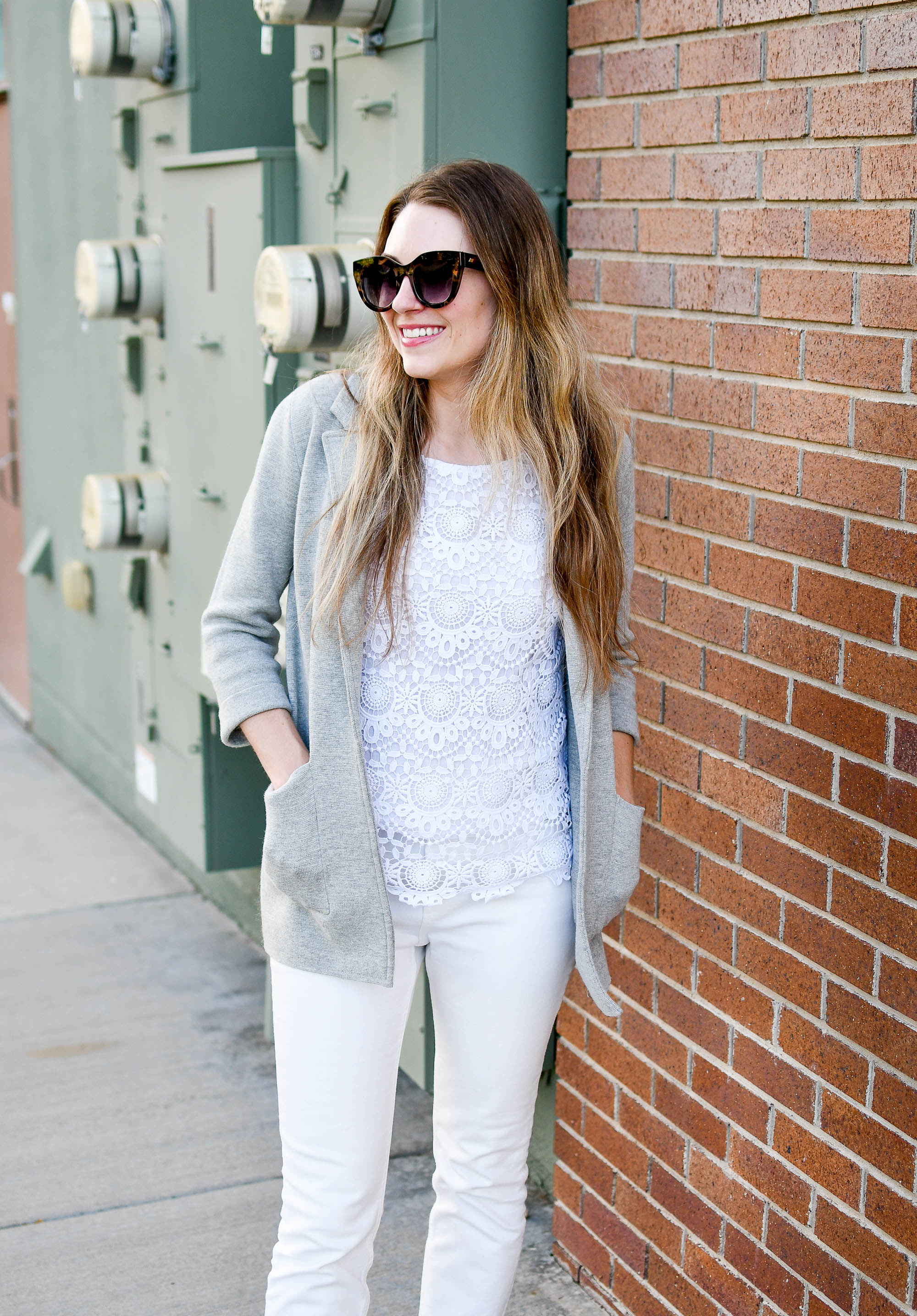 Grey sweater blazer summer work outfit with white lace top — Cotton Cashmere Cat Hair