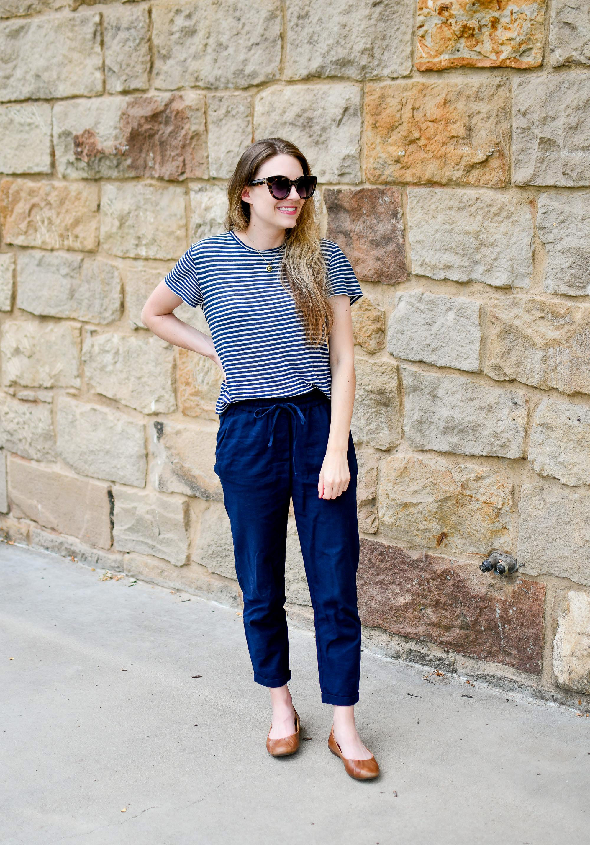 Navy striped tee, navy pants, brown flats summer work outfit — Cotton Cashmere Cat Hair