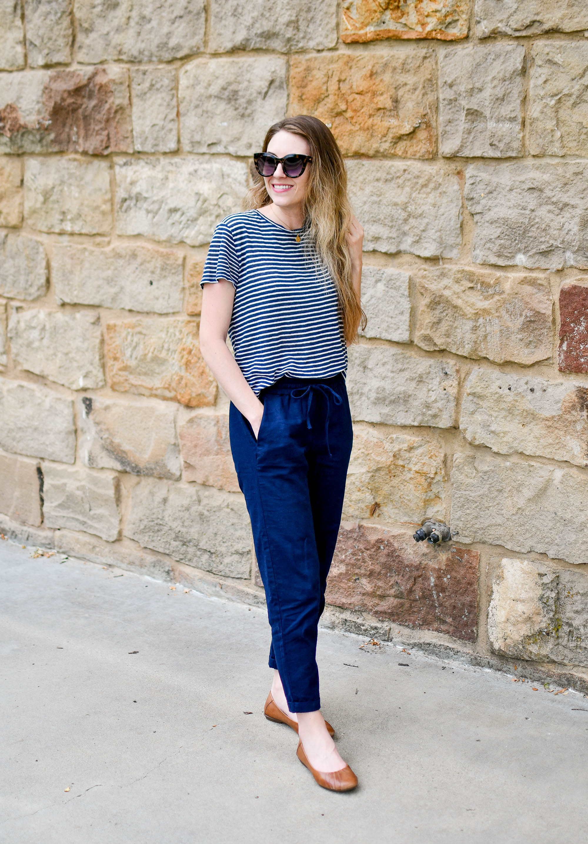 Navy linen striped tee summer work outfit with cotton-linen pants — Cotton Cashmere Cat Hair