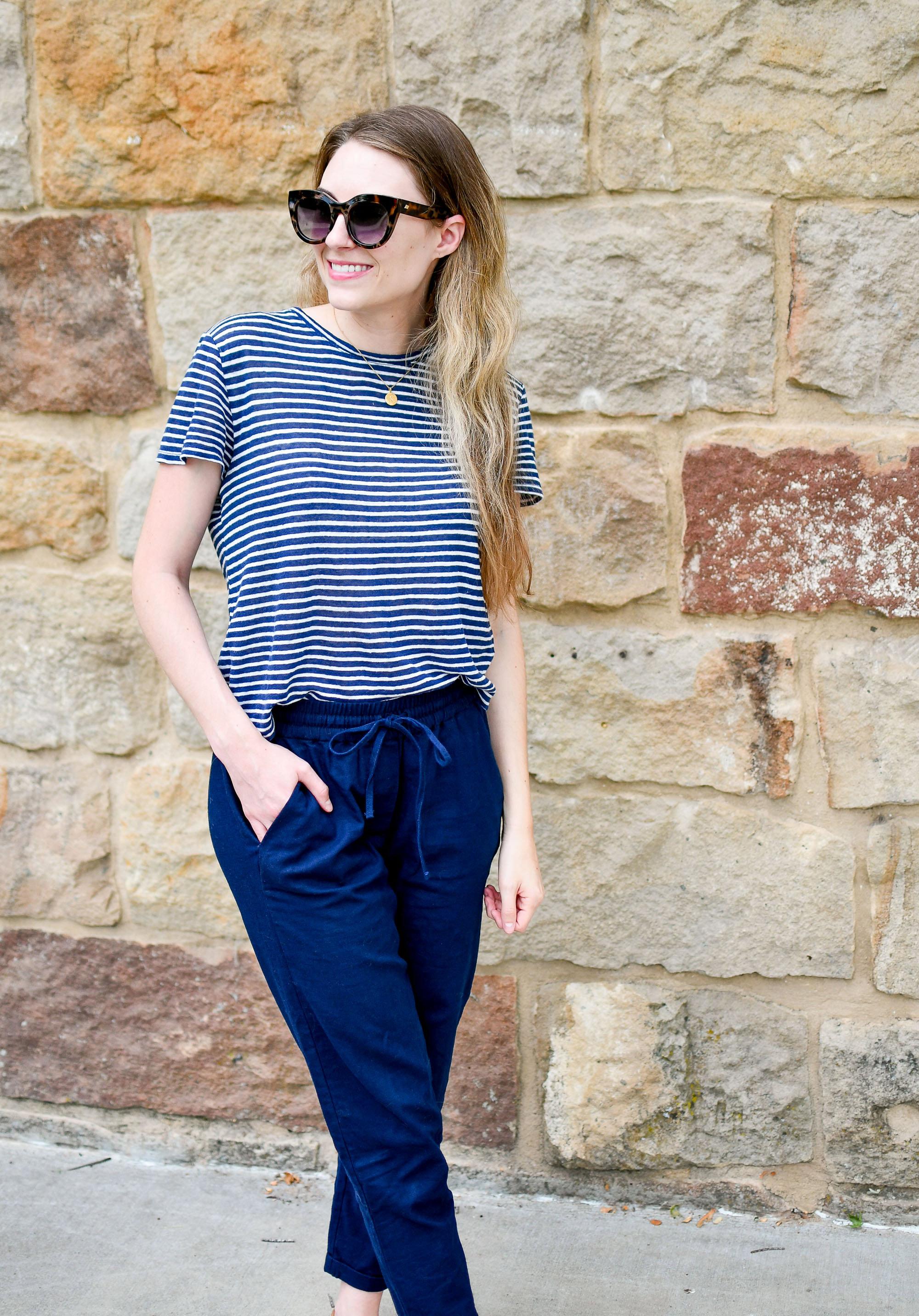 Everlane striped linen tee and J.Crew Factory cotton-linen pants — Cotton Cashmere Cat Hair