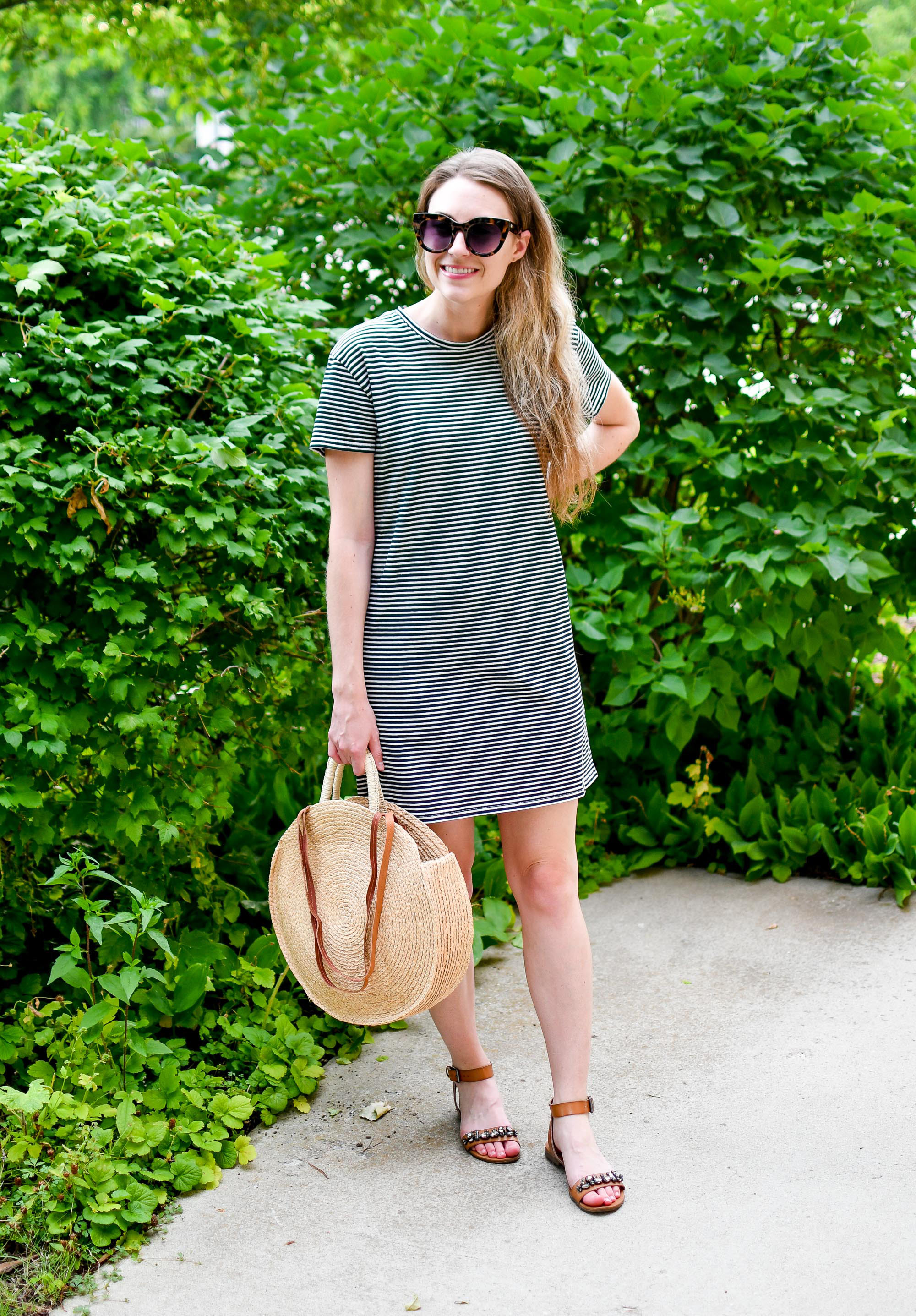 Casual summer weekend outfit with striped tee dress and straw bag — Cotton Cashmere Cat Hair