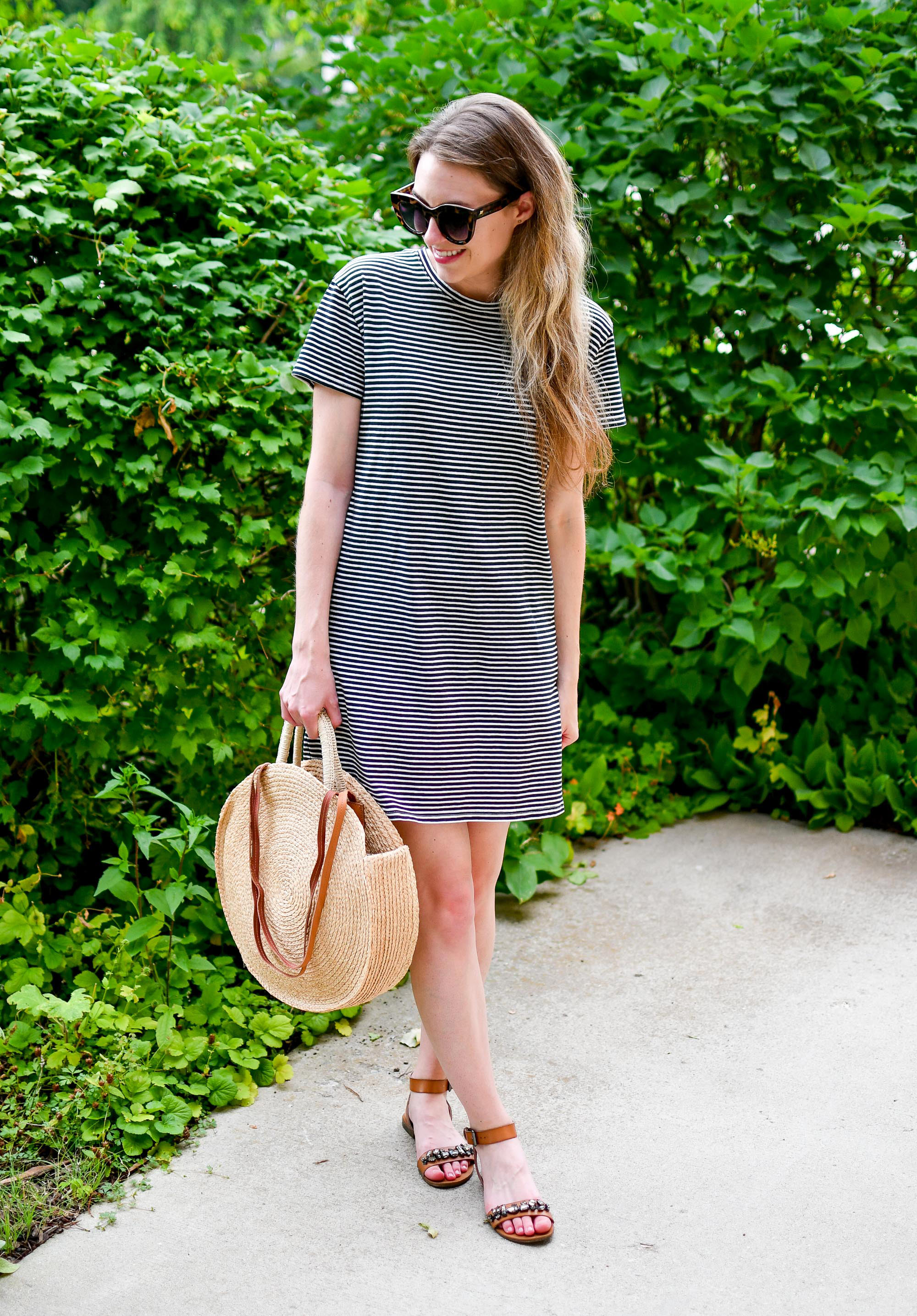 Everlane striped t-shirt dress casual summer outfit — Cotton Cashmere Cat Hair