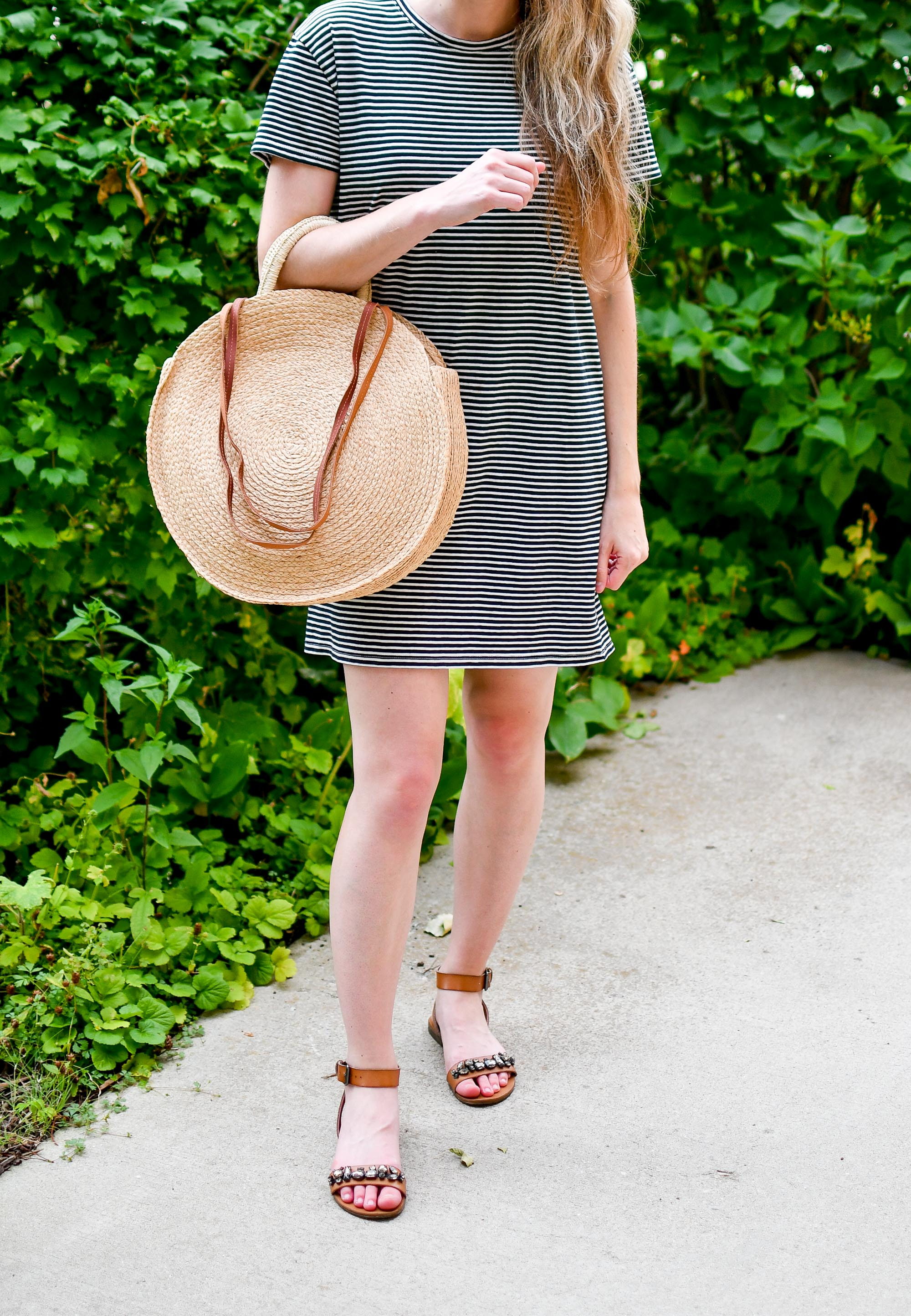 Everlane striped t-shirt dress casual summer outfit with straw circle tote — Cotton Cashmere Cat Hair