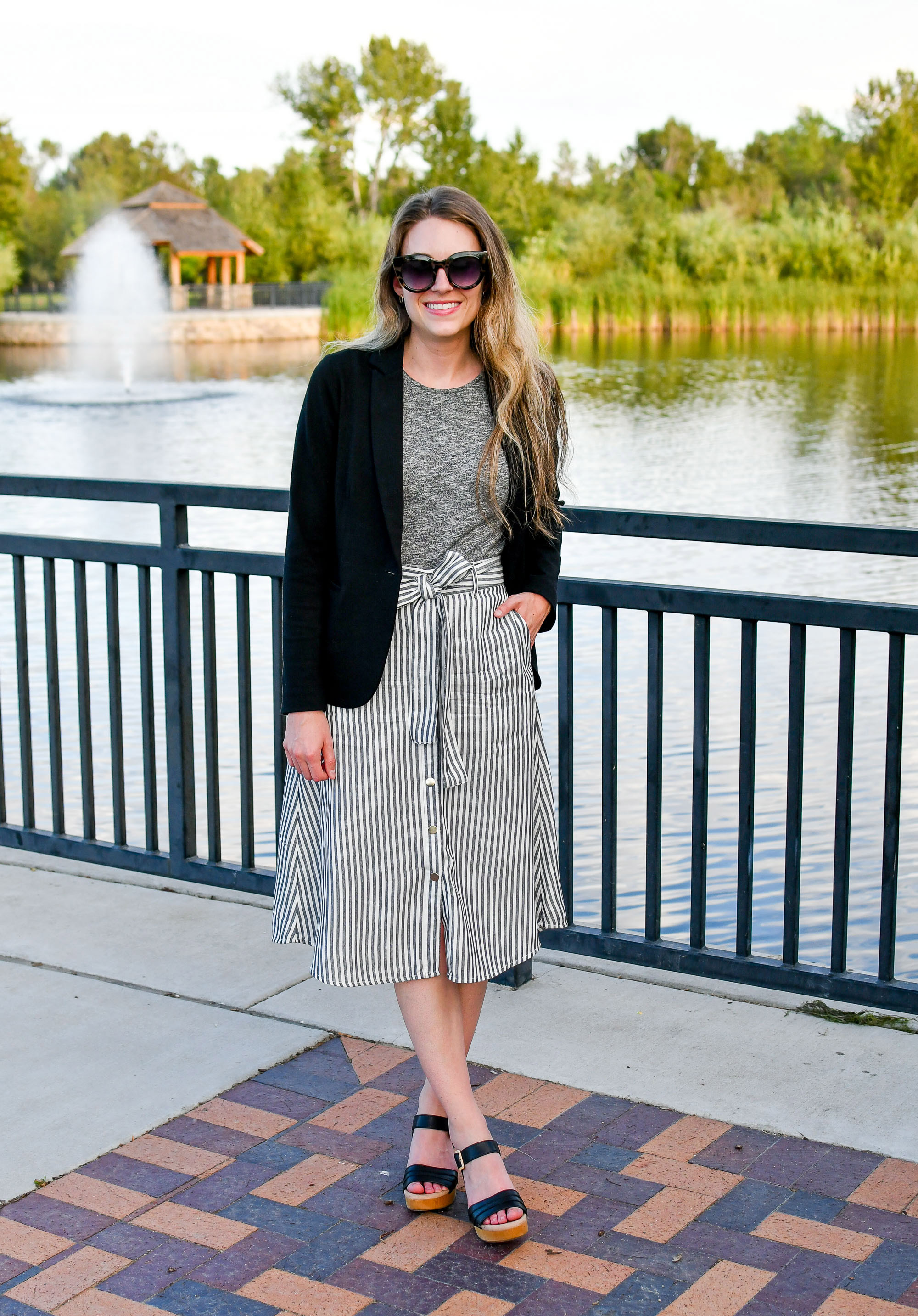 Desk to drinks summer outfit with black blazer and grey midi skirt — Cotton Cashmere Cat Hair