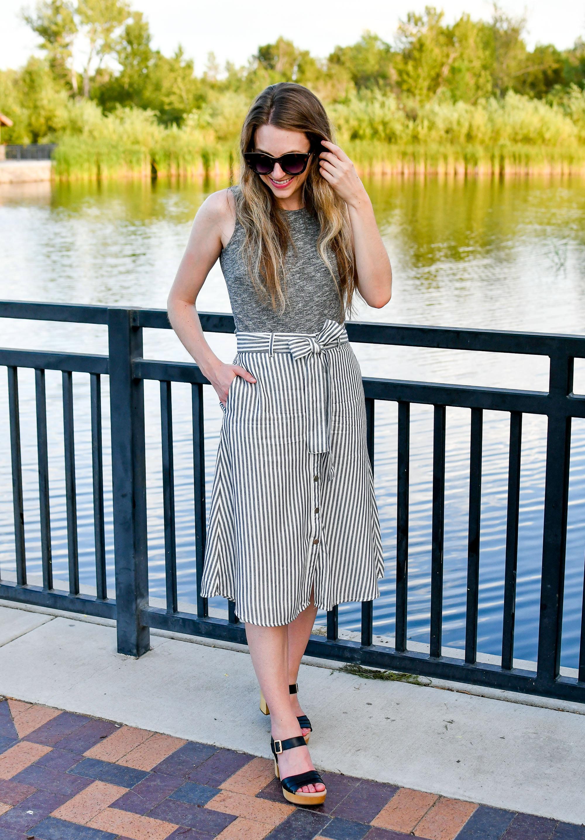 Earth Chestnut platform sandal summer work outfit — Cotton Cashmere Cat Hair