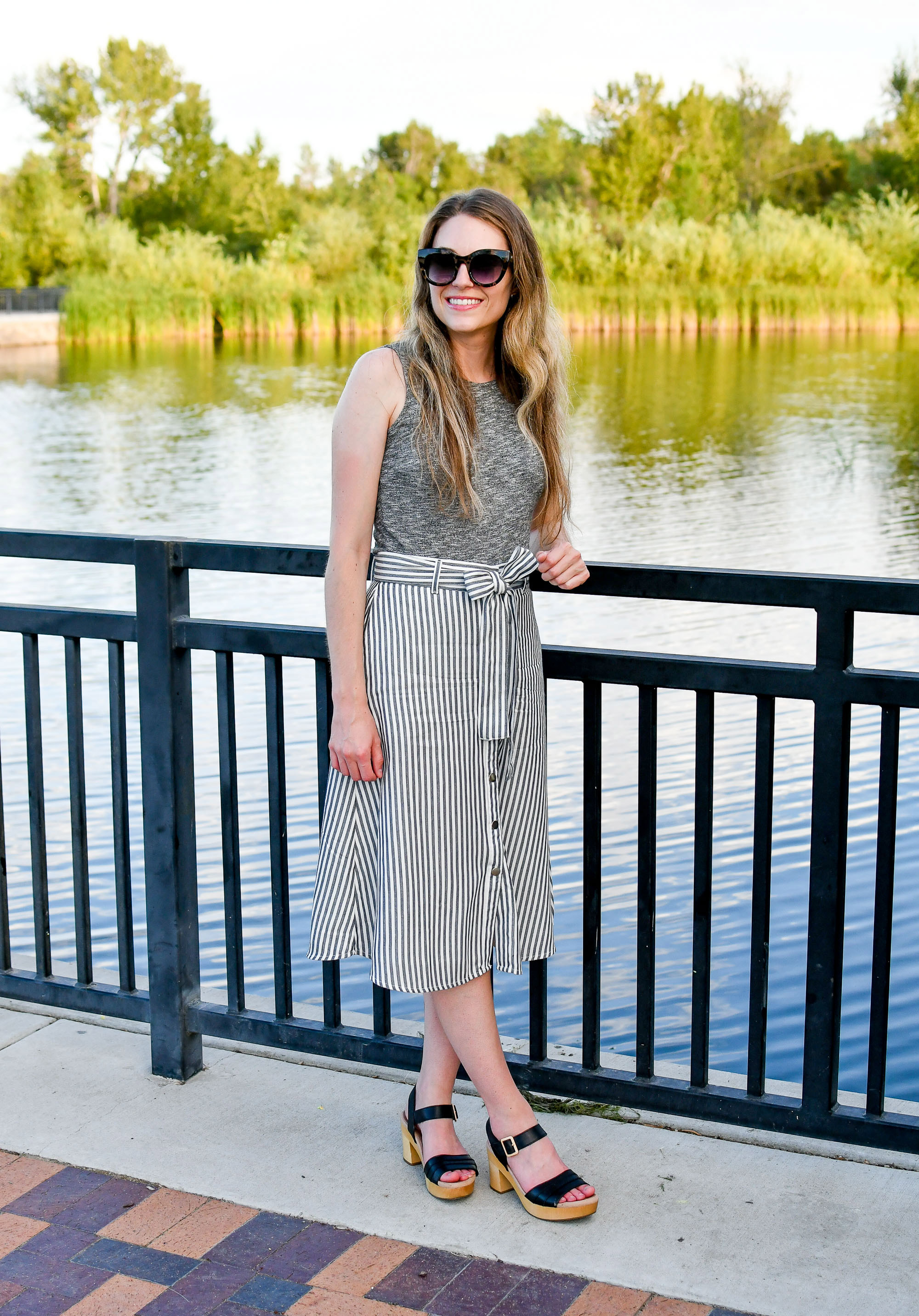 Grey striped midi skirt with marled grey top summer work outfit — Cotton Cashmere Cat Hair