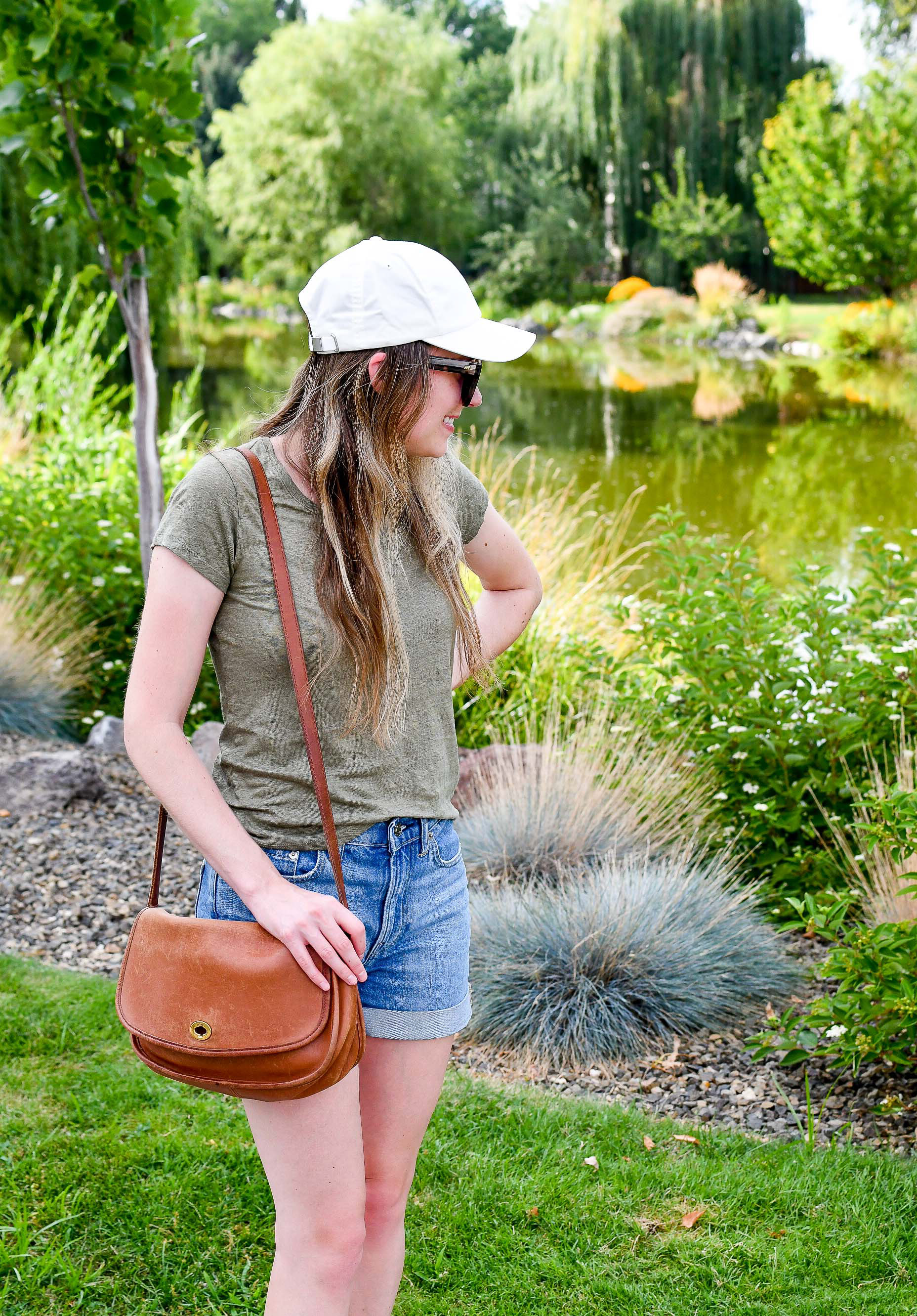 Vintage Coach City crossbody bag summer outfit with linen tee — Cotton Cashmere Cat Hair