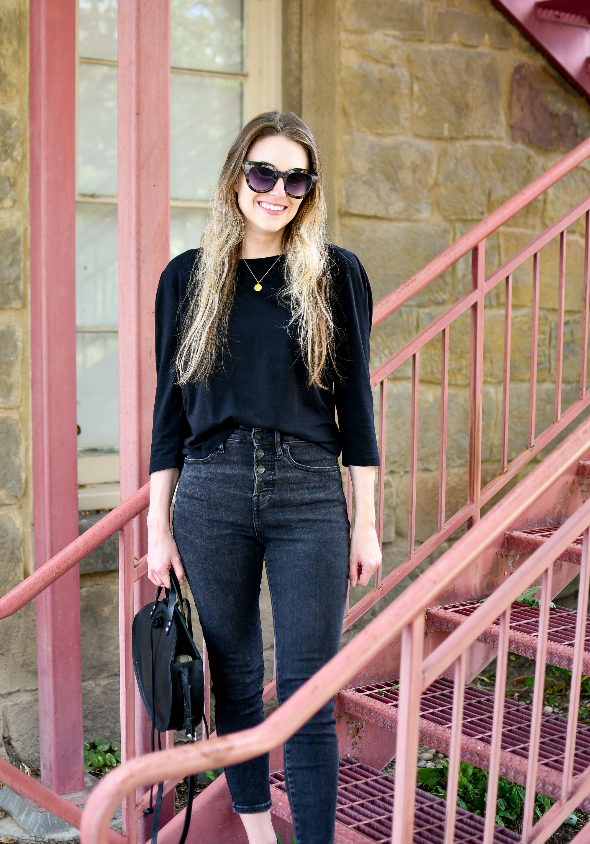 Black on black casual summer outfit — Cotton Cashmere Cat Hair