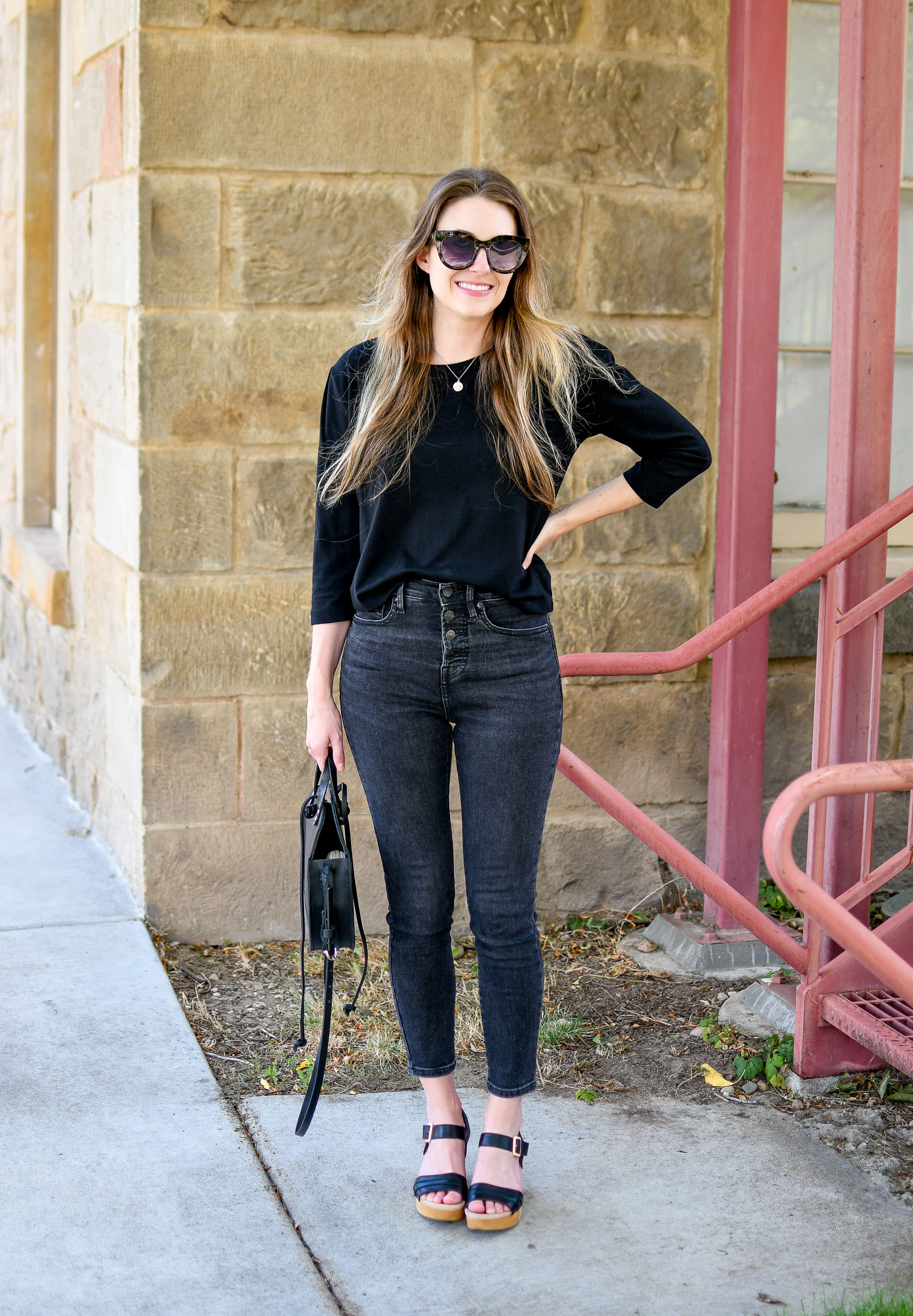 Everlane washed black denim casual summer outfit — Cotton Cashmere Cat Hair