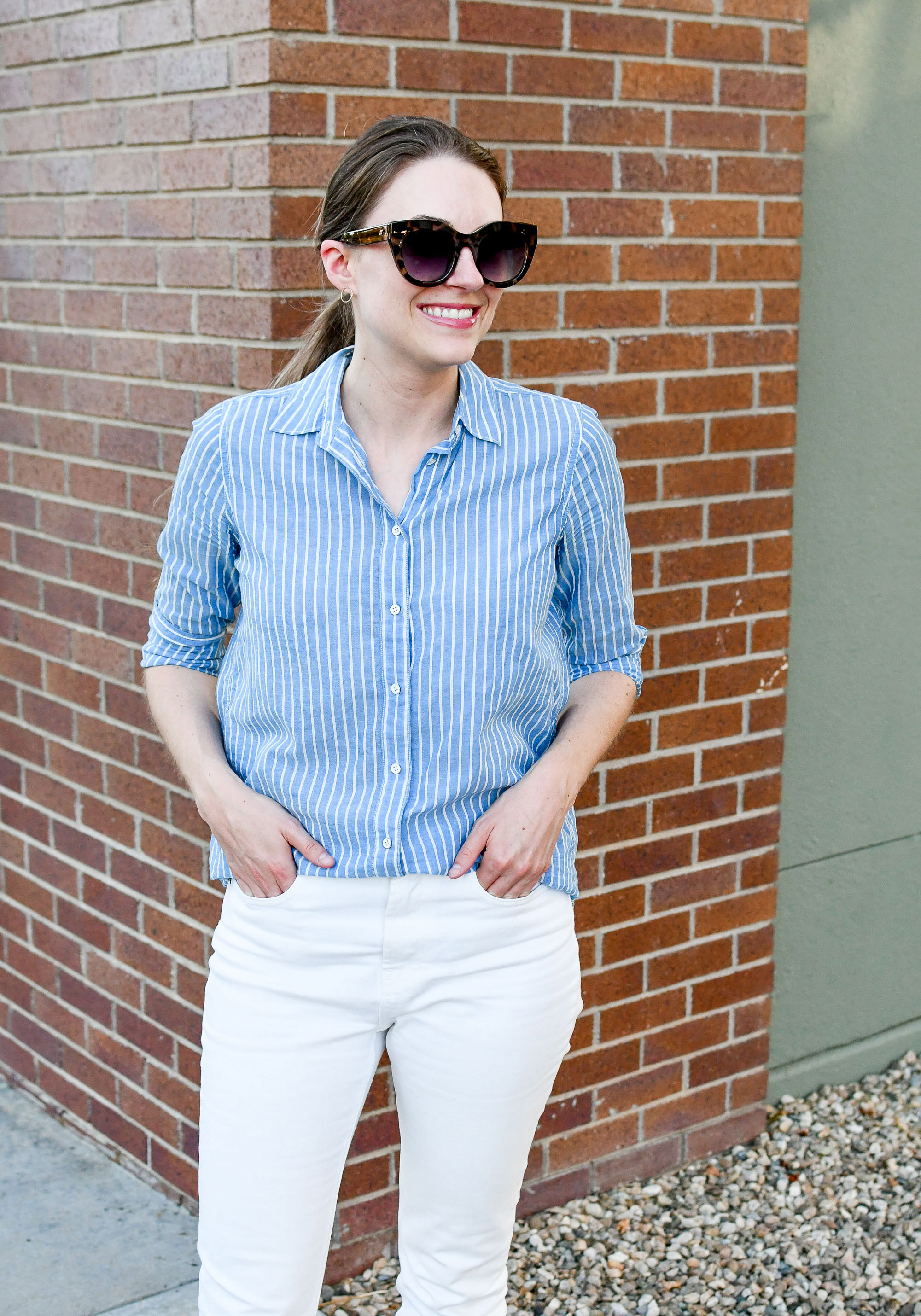 Blue stripes and white denim for summer — Cotton Cashmere Cat Hair