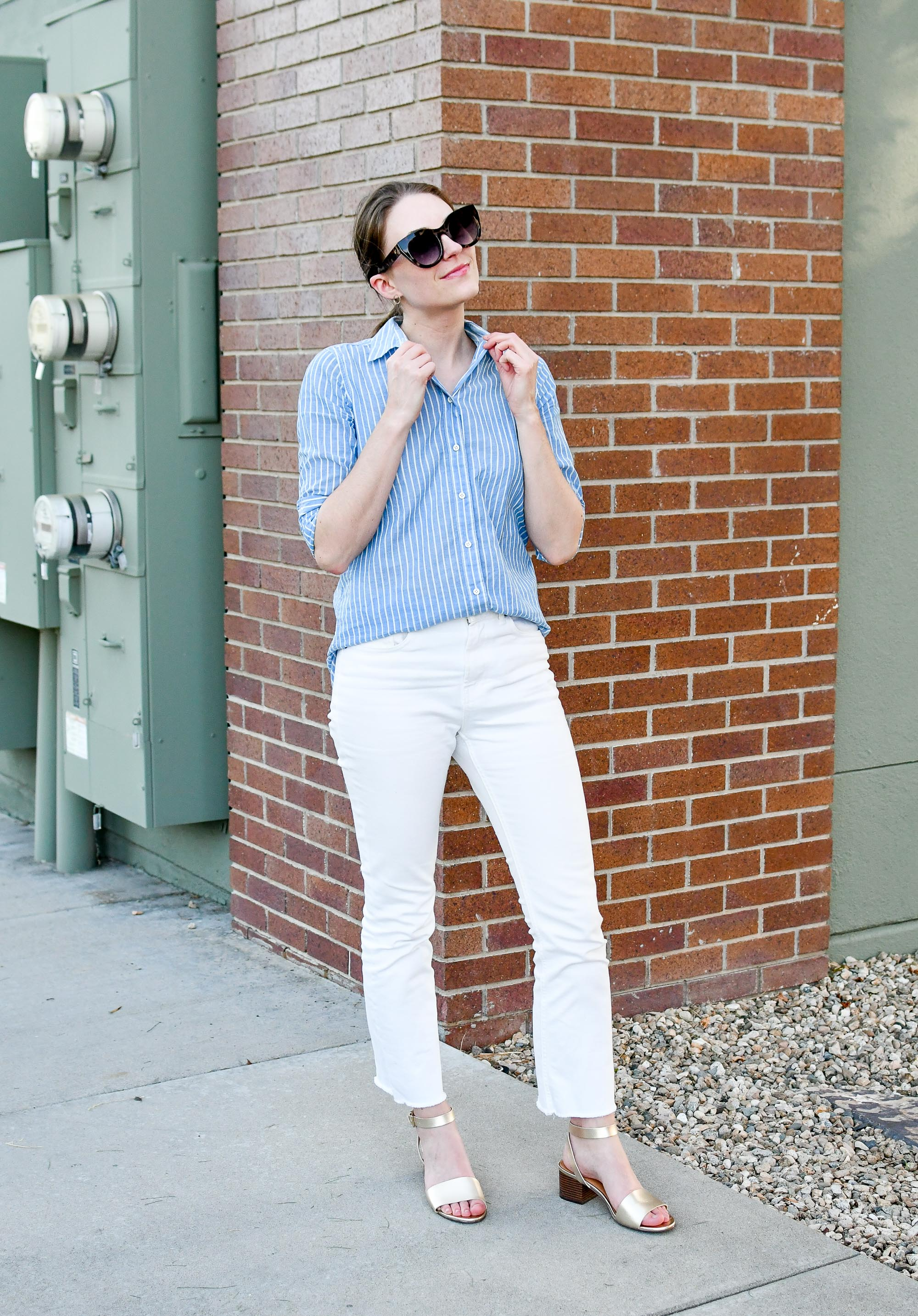 Everlane kick crop jeans in bone summer work outfit — Cotton Cashmere Cat Hair