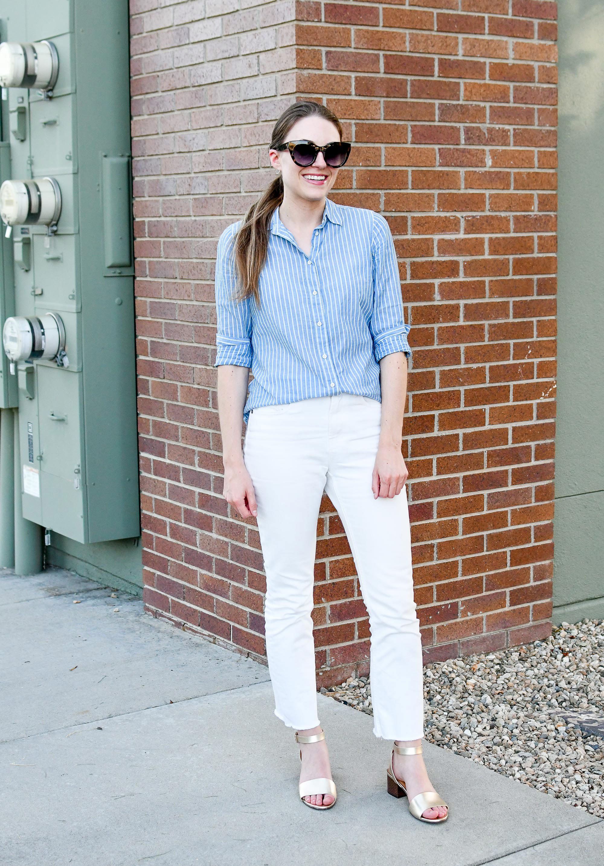 Blue and white summer color palette with gold sandals — Cotton Cashmere Cat Hair