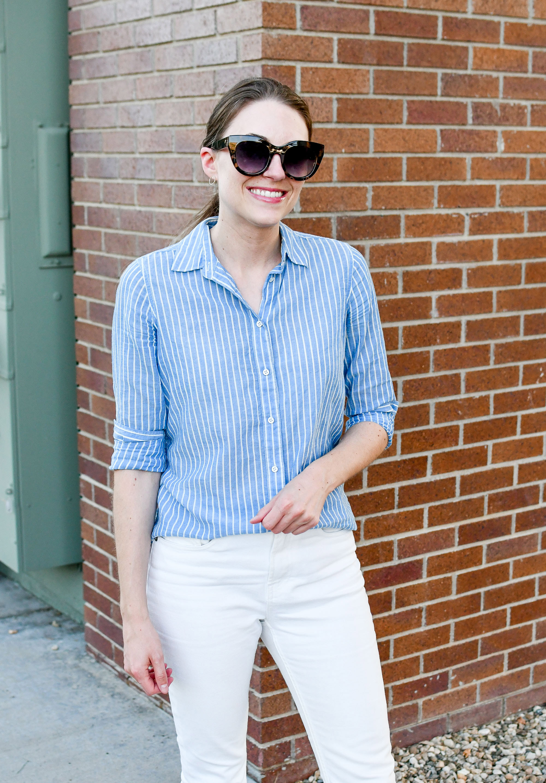 Blue striped button-down shirt with white denim — Cotton Cashmere Cat Hair
