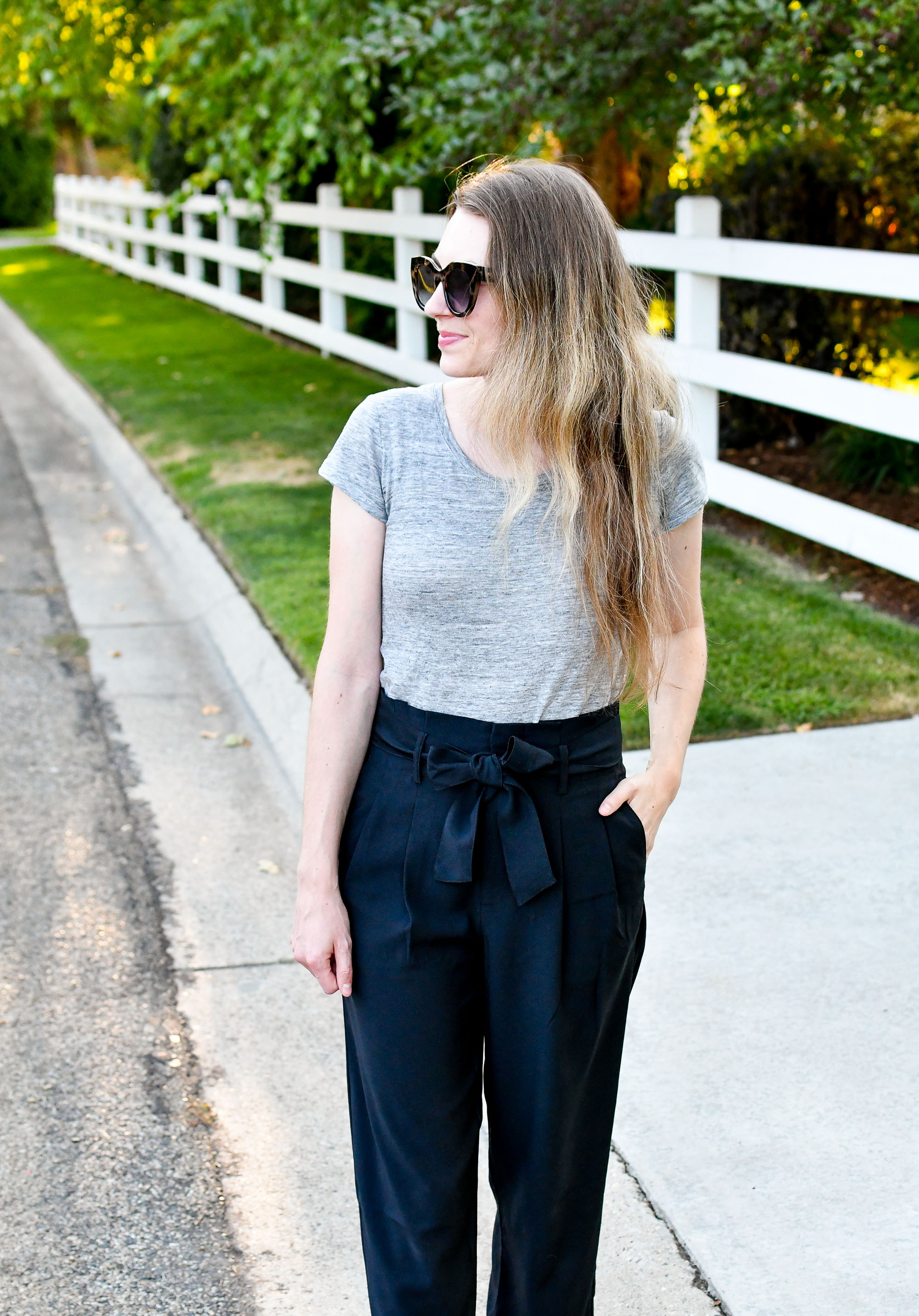 Grey linen tee + black paperbag pants — Cotton Cashmere Cat Hair