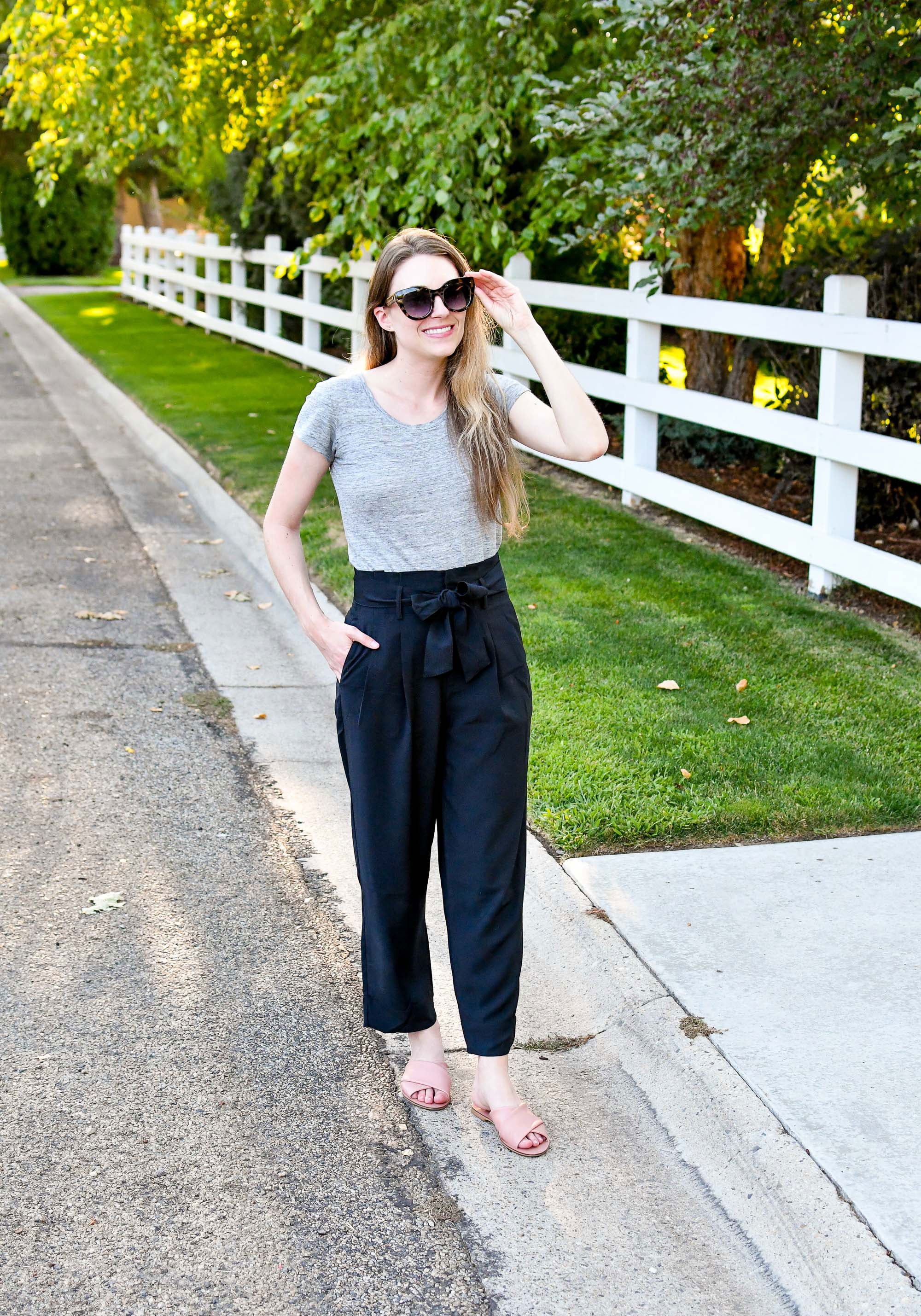 Black paperbag pants summer work outfit with linen tee and sandals — Cotton Cashmere Cat Hair