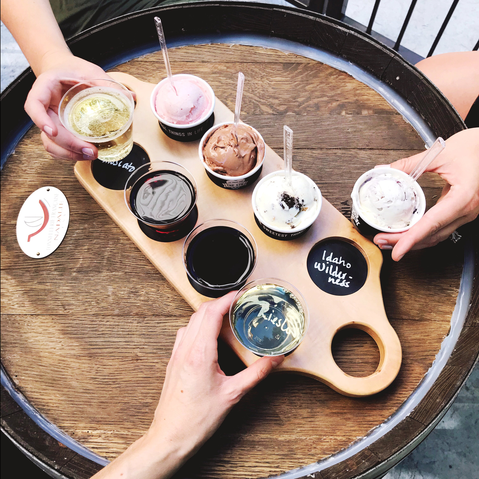 Ice cream and wine flight at The STIL, Boise, Idaho — Cotton Cashmere Cat Hair