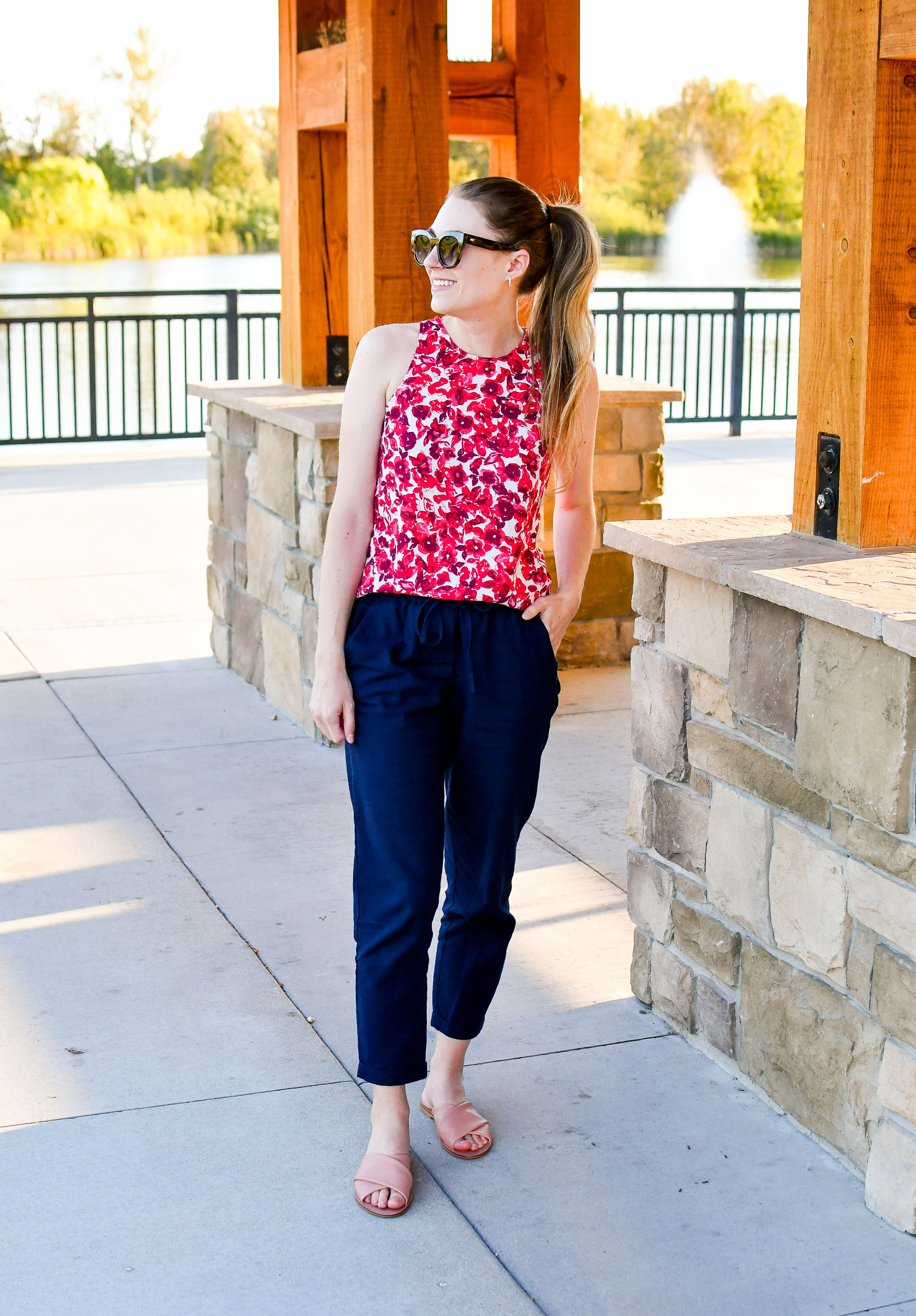 Red floral top + navy linen pants + blush pink sandals summer outfit — Cotton Cashmere Cat Hair