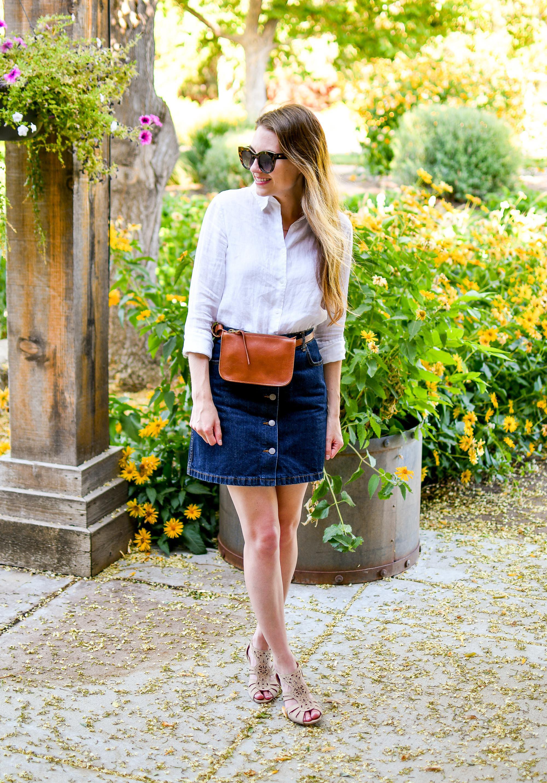 Summer outfit with linen shirt, denim skirt, belt bag — Cotton Cashmere Cat Hair
