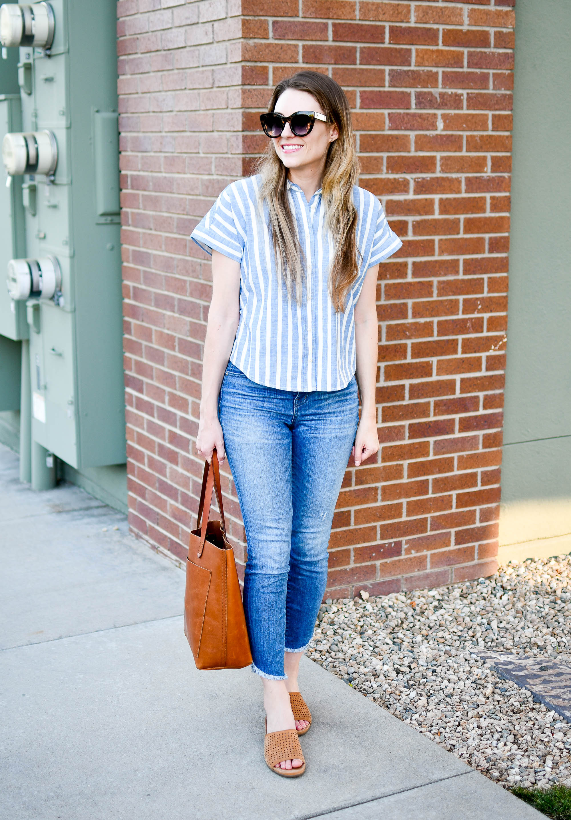 Blue and cognac casual summer work outfit — Cotton Cashmere Cat Hair