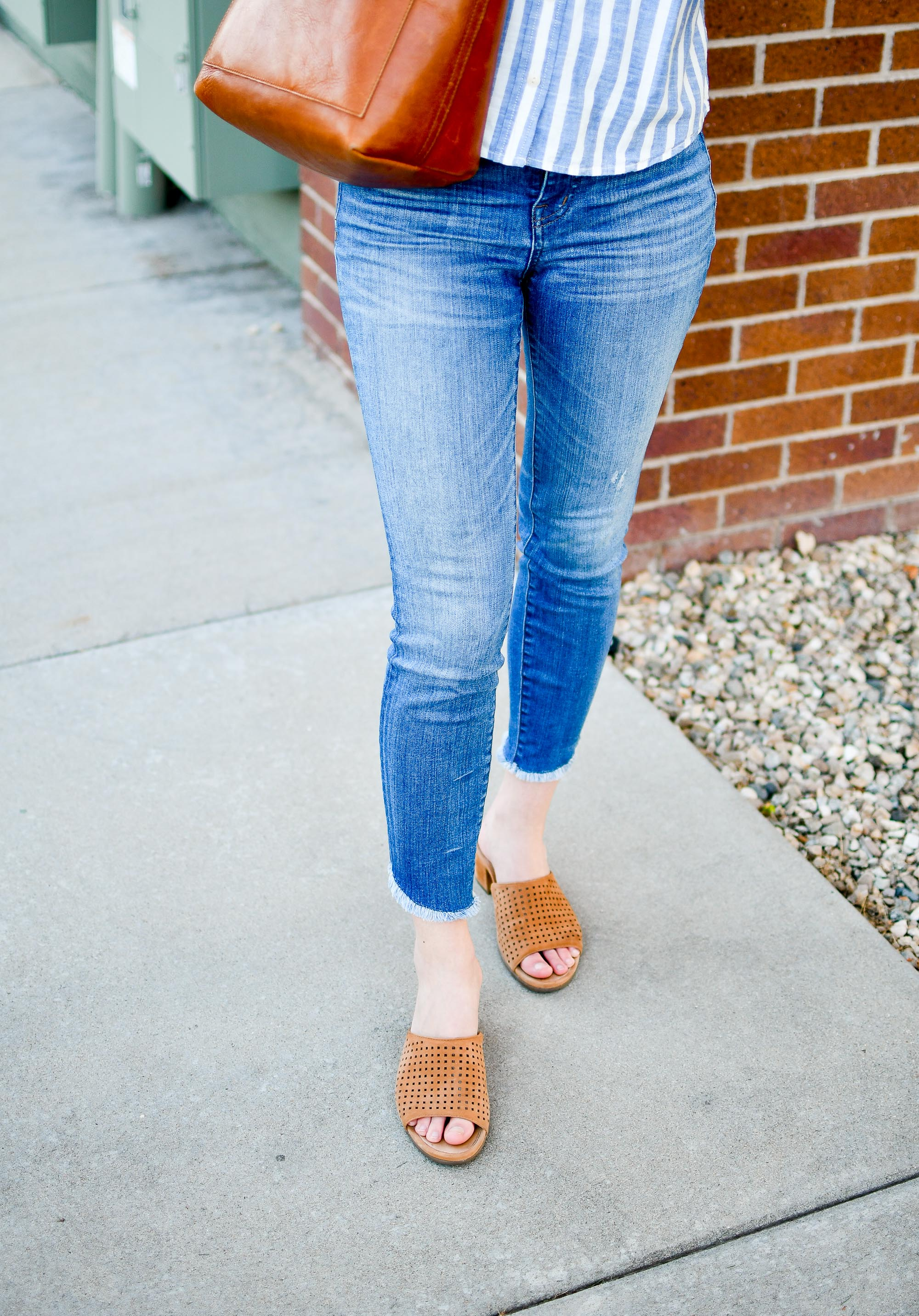 Madewell tulip hem skinny jeans + Earth Ibiza slide sandal — Cotton Cashmere Cat Hair