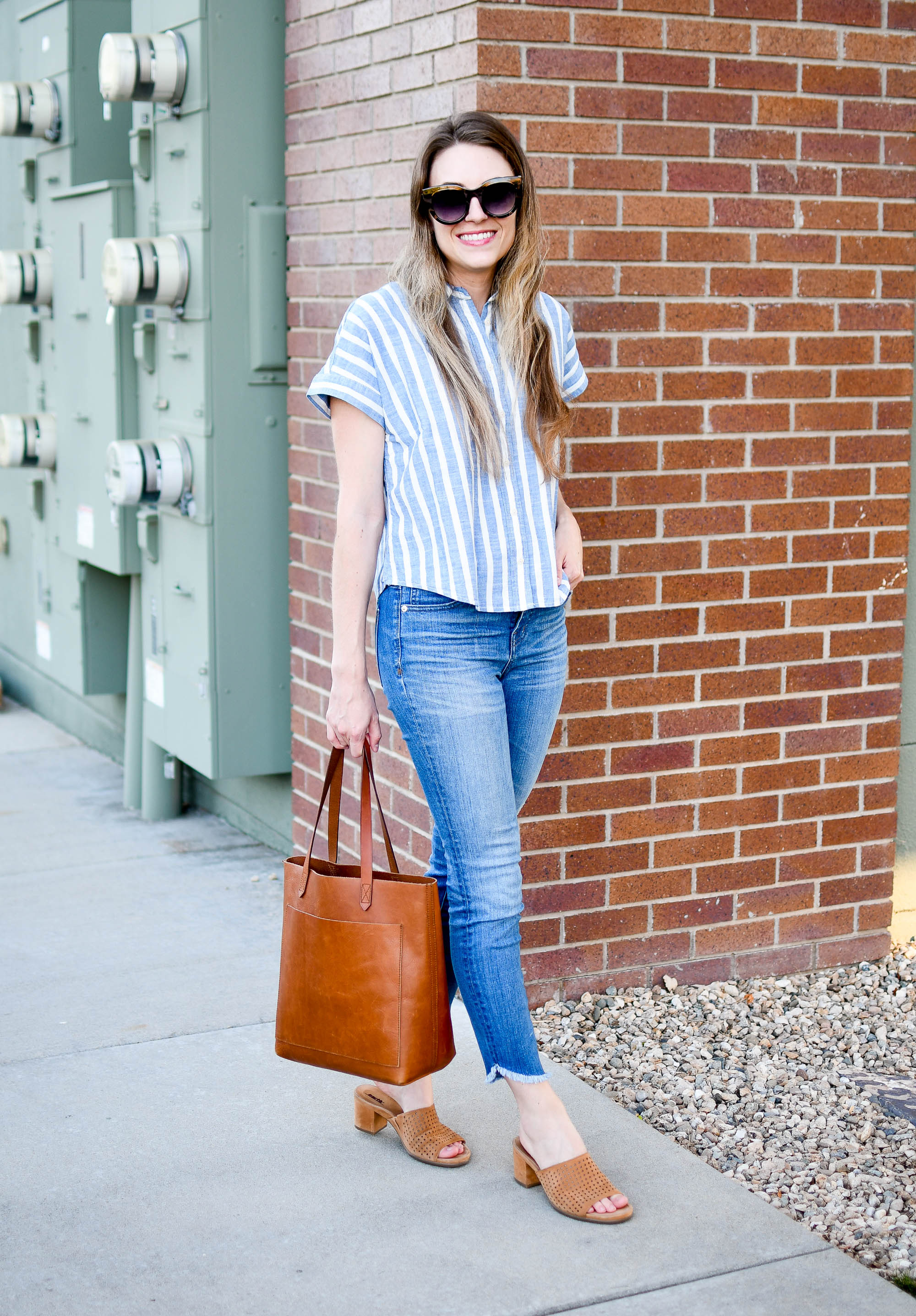 Madewell blue striped crop shirt summer work outfit with Transport Tote — Cotton Cashmere Cat Hair