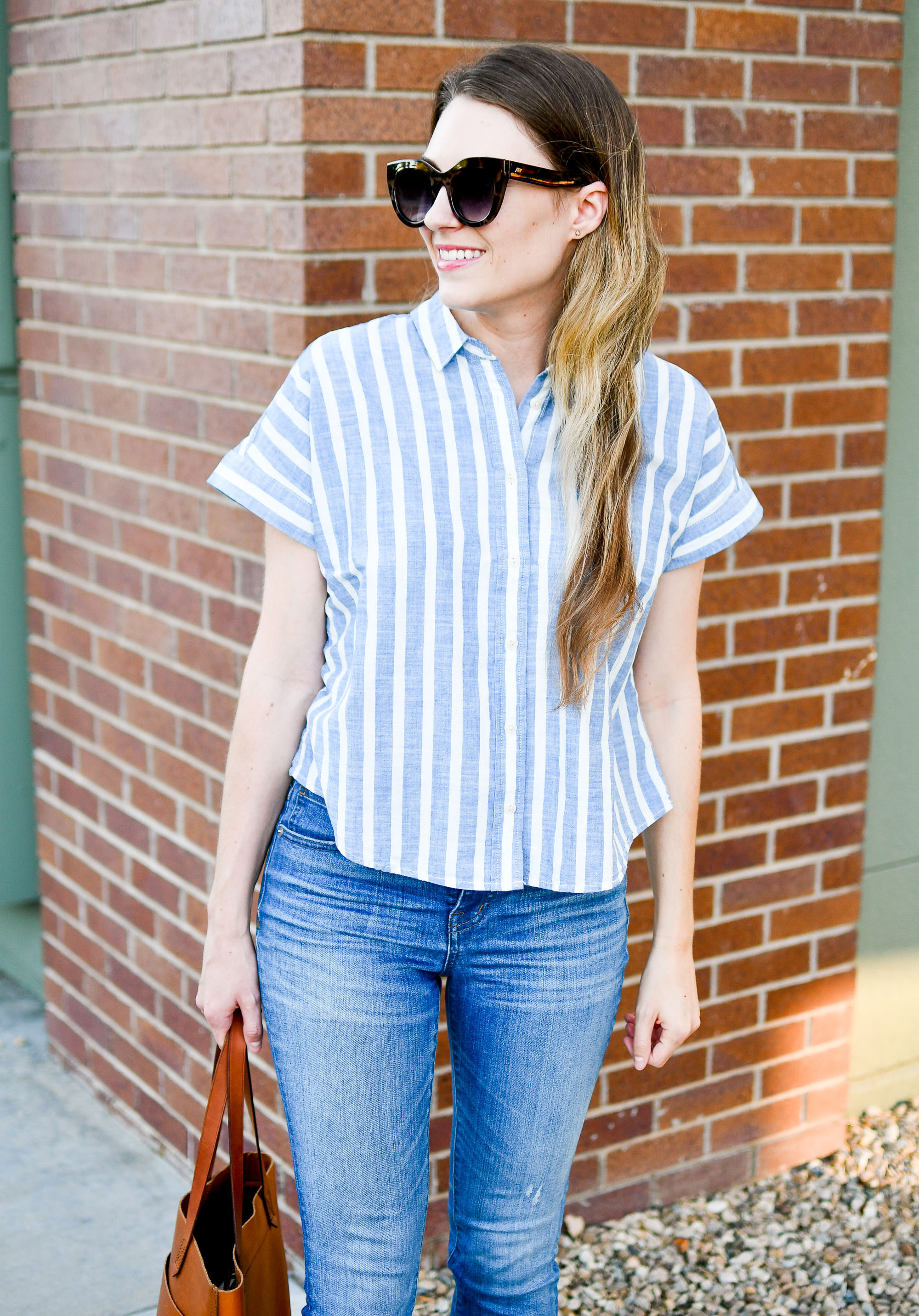 Blue striped crop shirt summer outfit — Cotton Cashmere Cat Hair