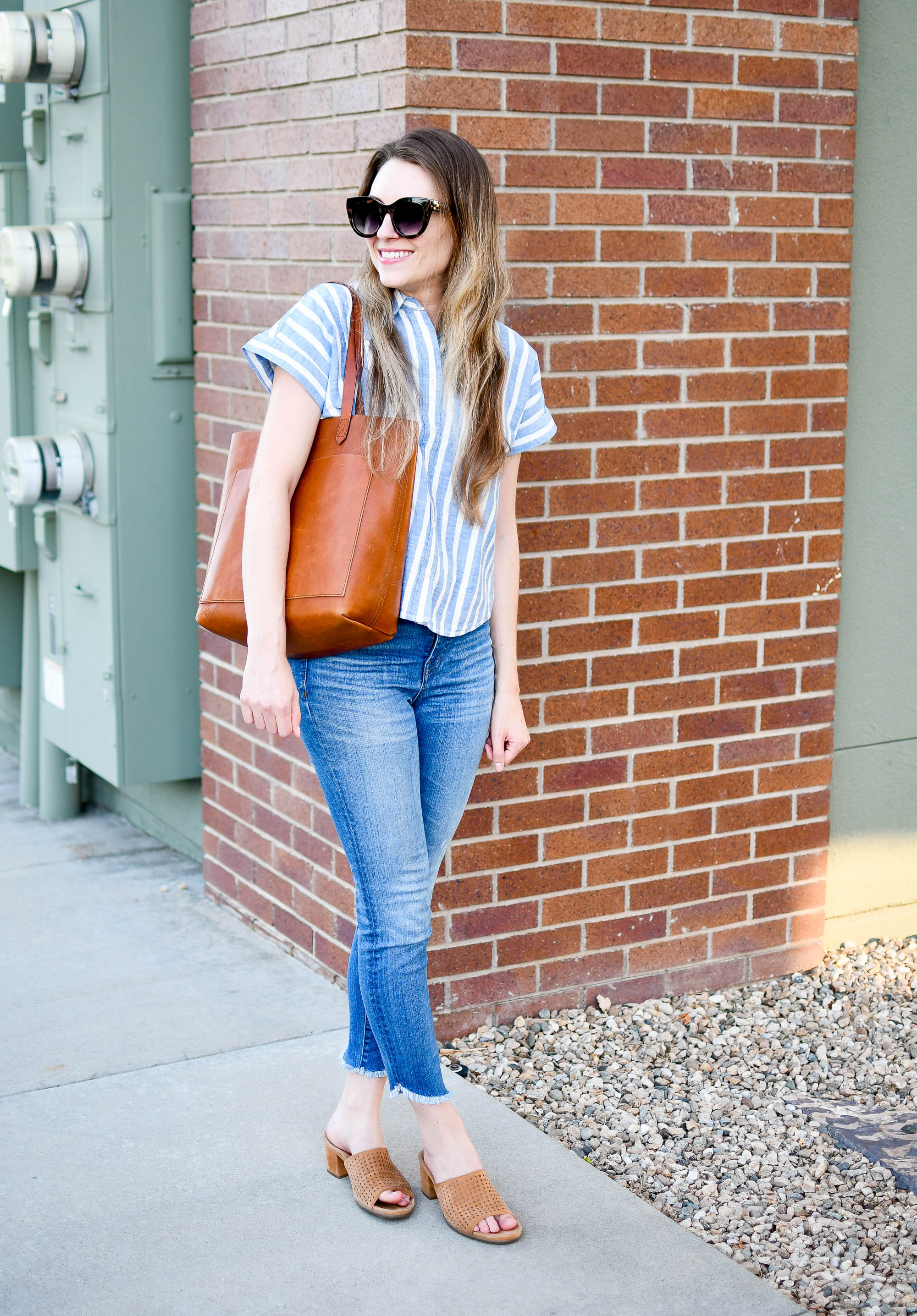 Madewell medium Transport Tote summer outfit with striped tee and denim — Cotton Cashmere Cat Hair