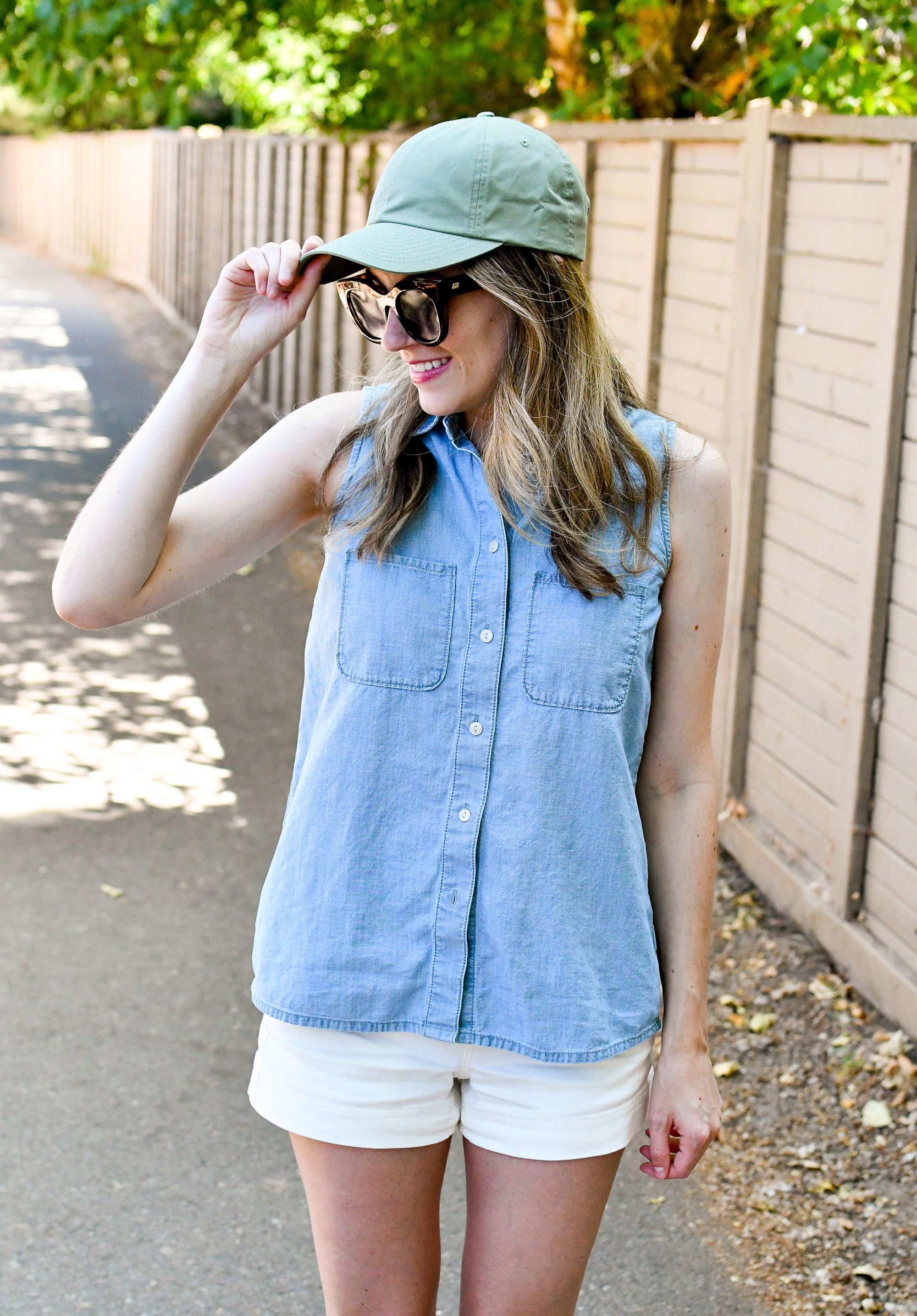 Olive cap + chambray shirt + white shorts — Cotton Cashmere Cat Hair