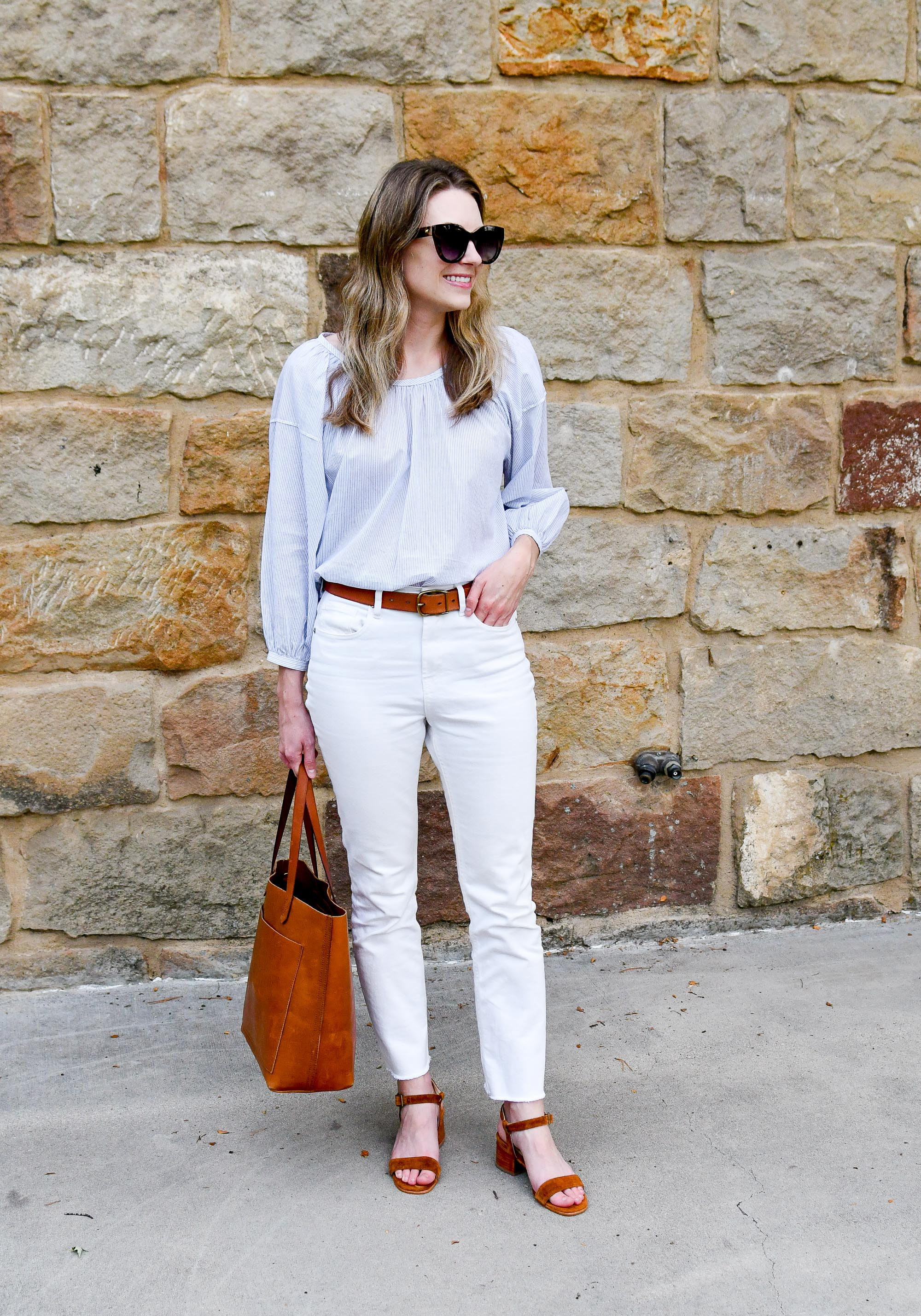 Summer to fall work outfit with white denim and brown tote — Cotton Cashmere Cat Hair