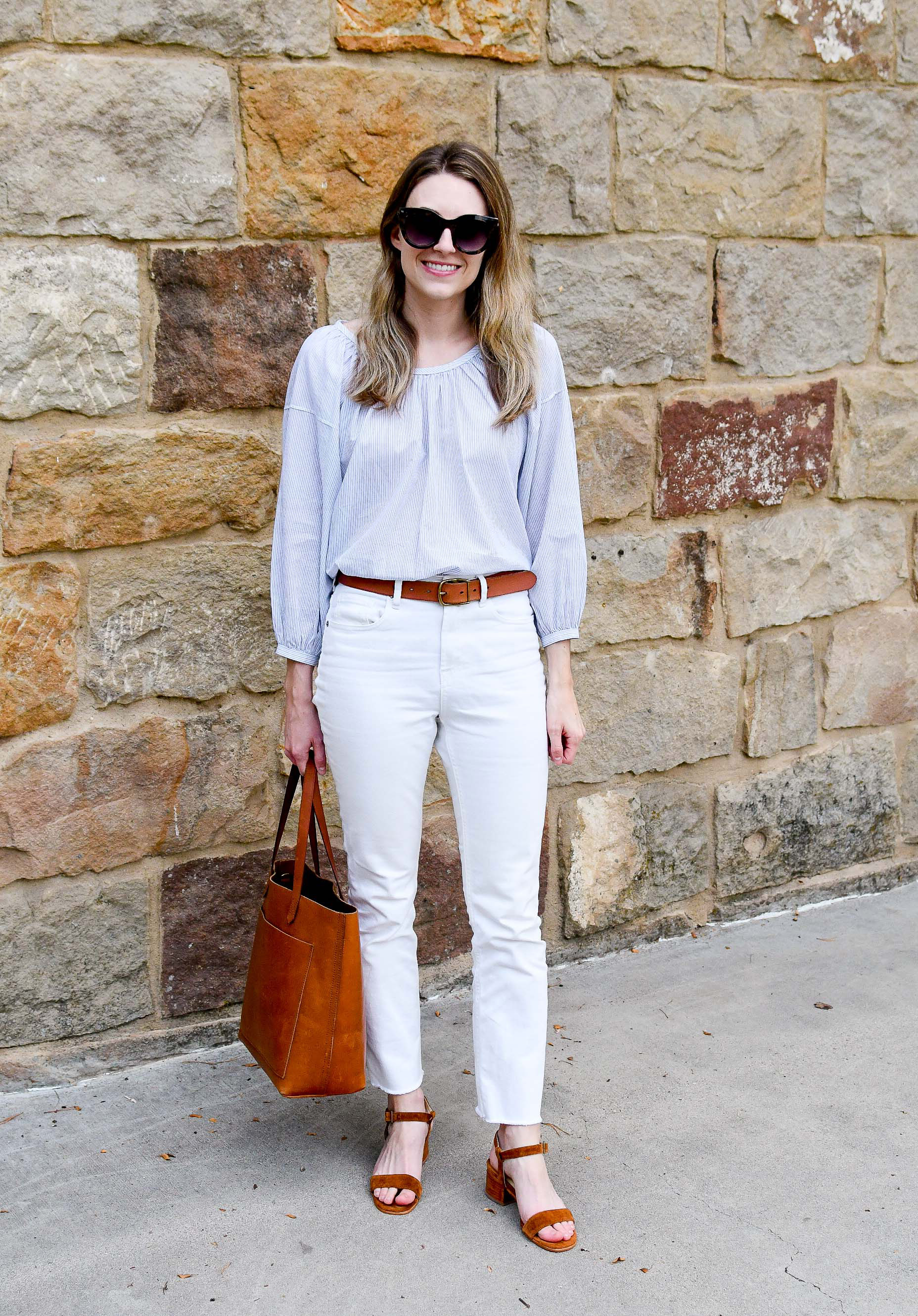 White and nutmeg summer to fall work outfit — Cotton Cashmere Cat Hair