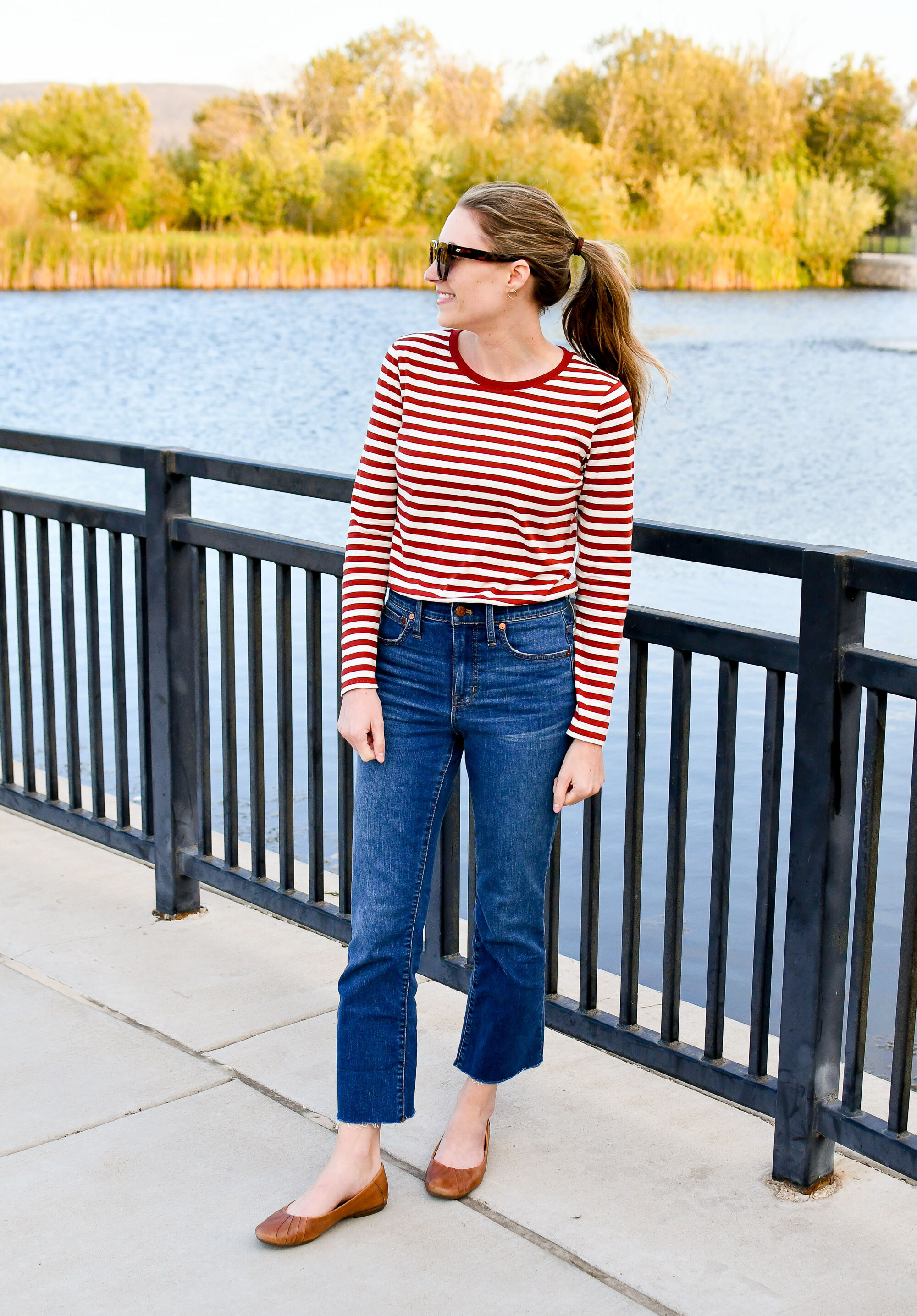 Madewell Cali demi-boot jeans in Preston wash fall outfit — Cotton Cashmere Cat Hair