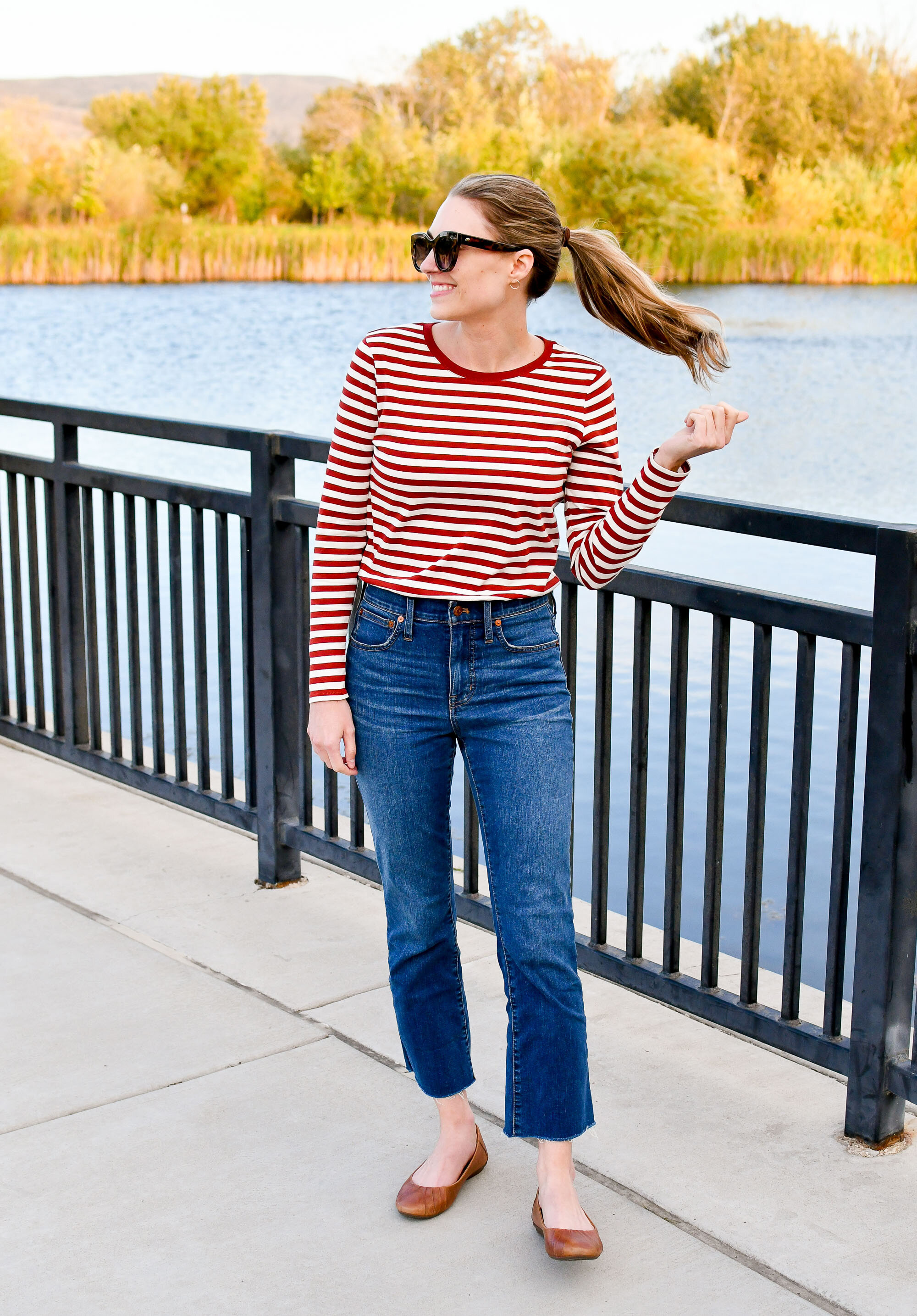 Madewell Driggs striped tee + Cali demi-boot jeans in Preston wash — Cotton Cashmere Cat Hair