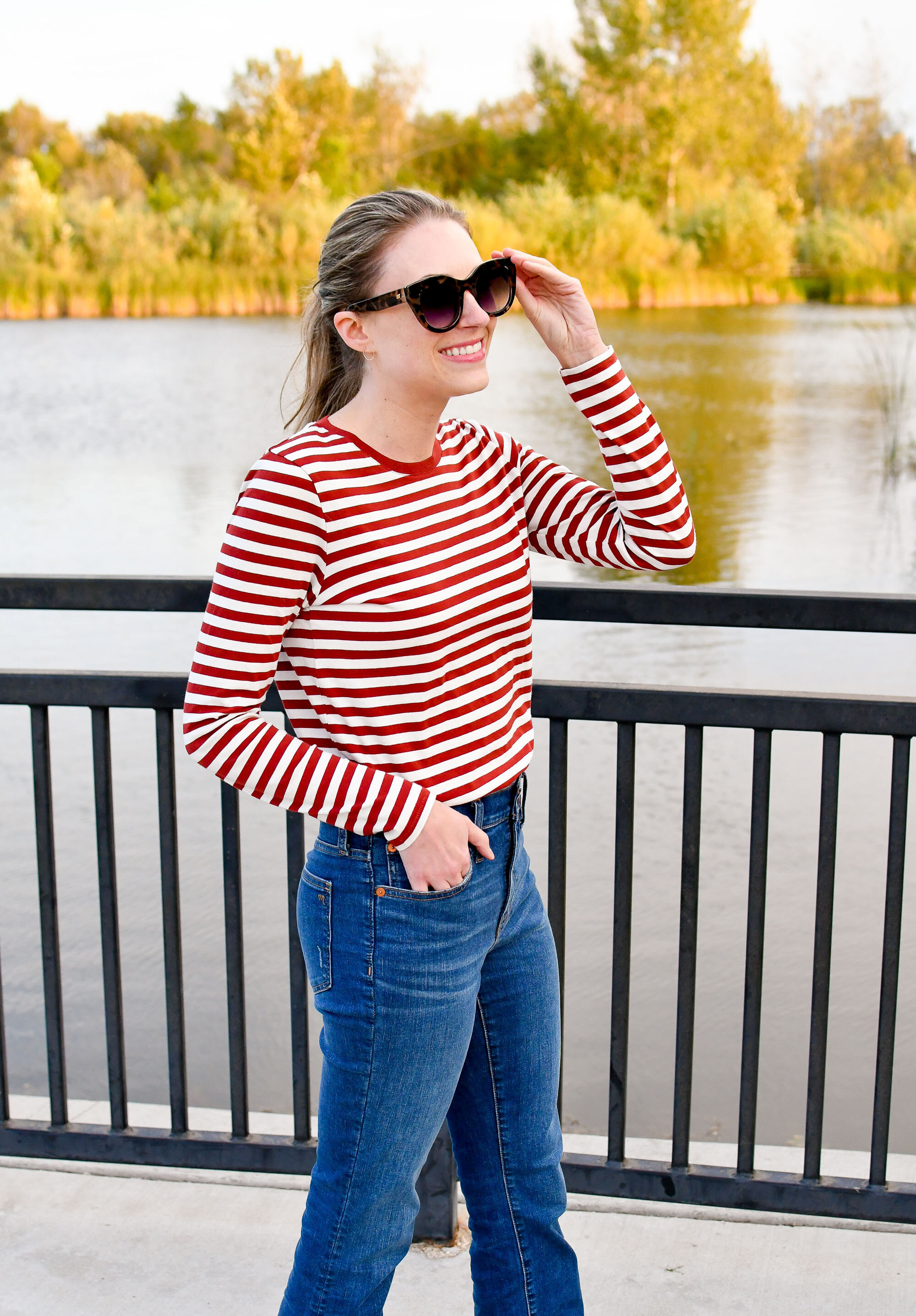 Dark red striped tee casual fall outfit — Cotton Cashmere Cat Hair