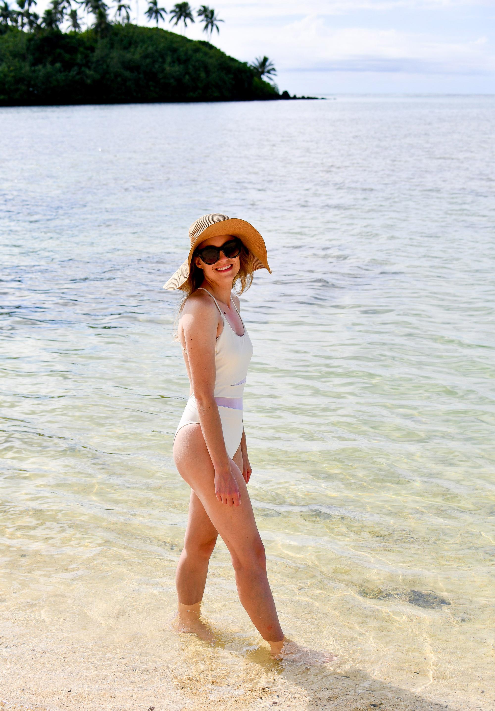 White Summersalt swimsuit + floppy straw sun hat — Cotton Cashmere Cat Hair