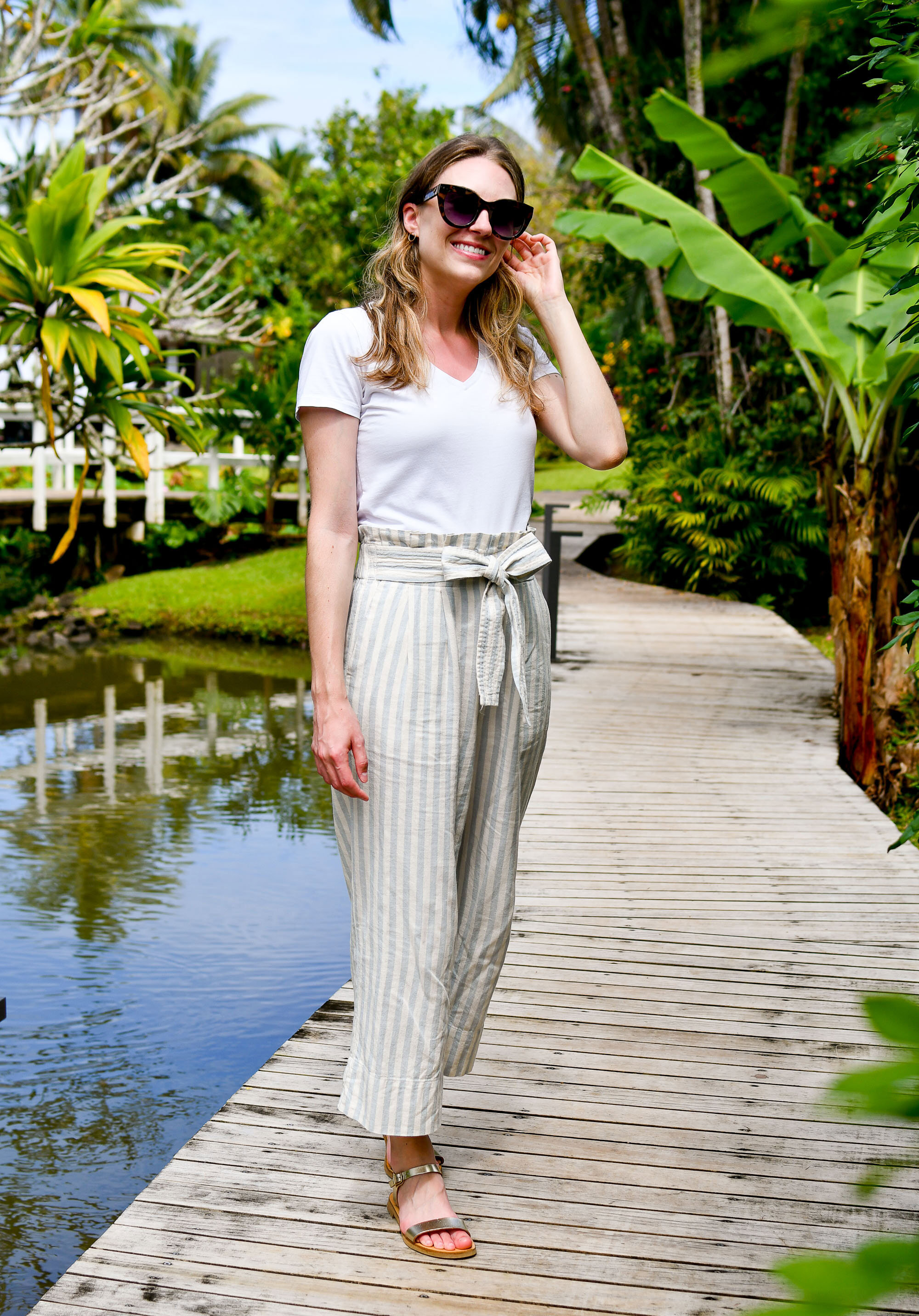 Madewell striped pants casual outfit with white tee — Cotton Cashmere Cat Hair