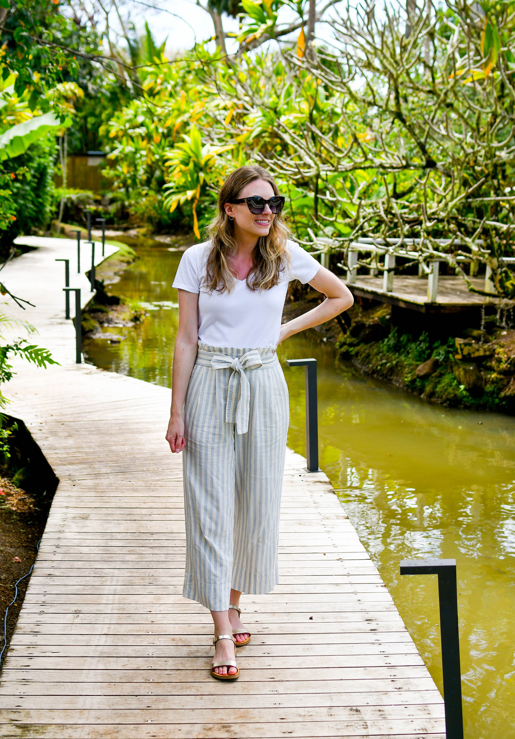 Striped beach pants casual outfit with white tee and gold sandals — Cotton Cashmere Cat Hair