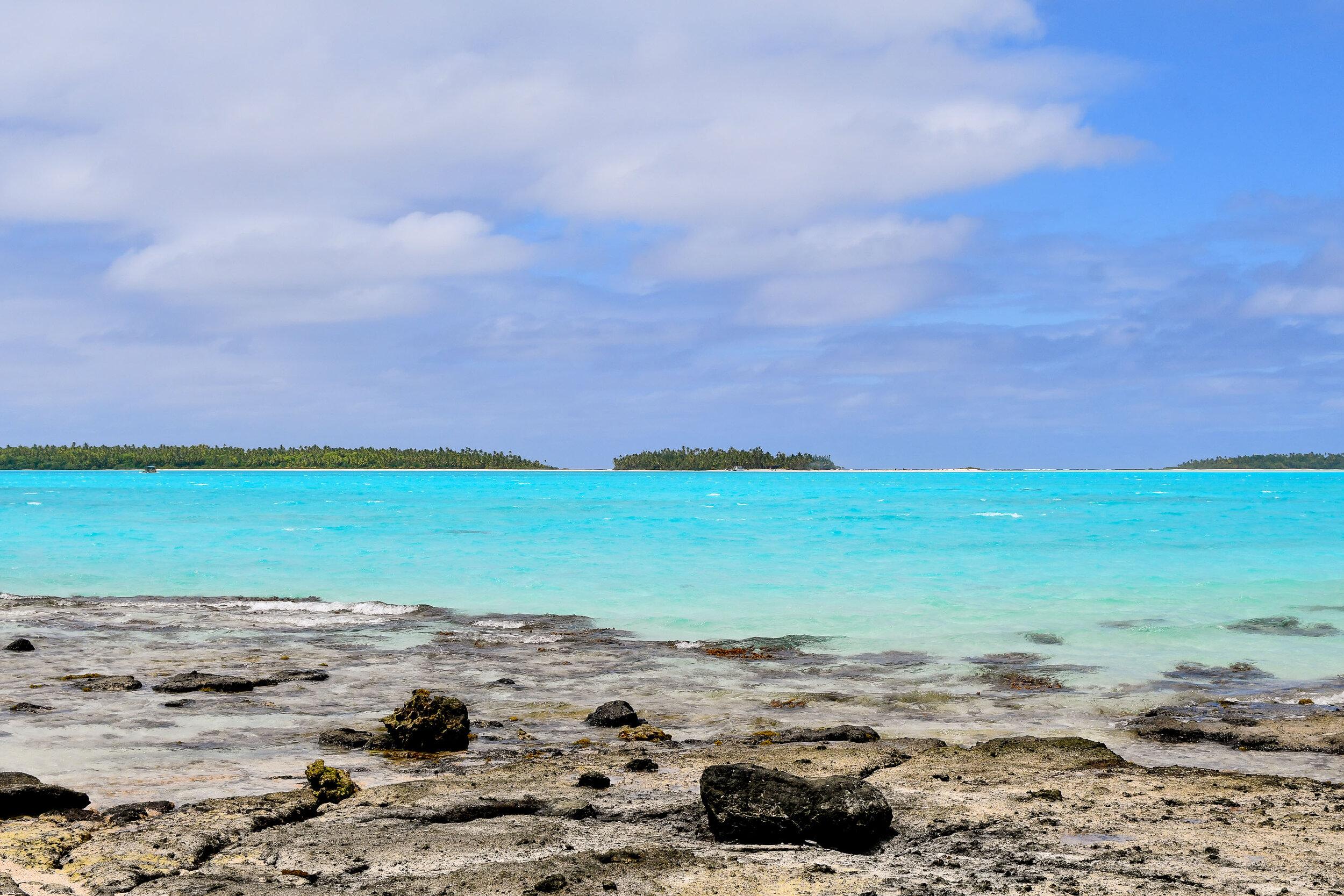 From Moturakau looking towards Tapuaetai, Aitutaki, Cook Islands — Cotton Cashmere Cat Hair